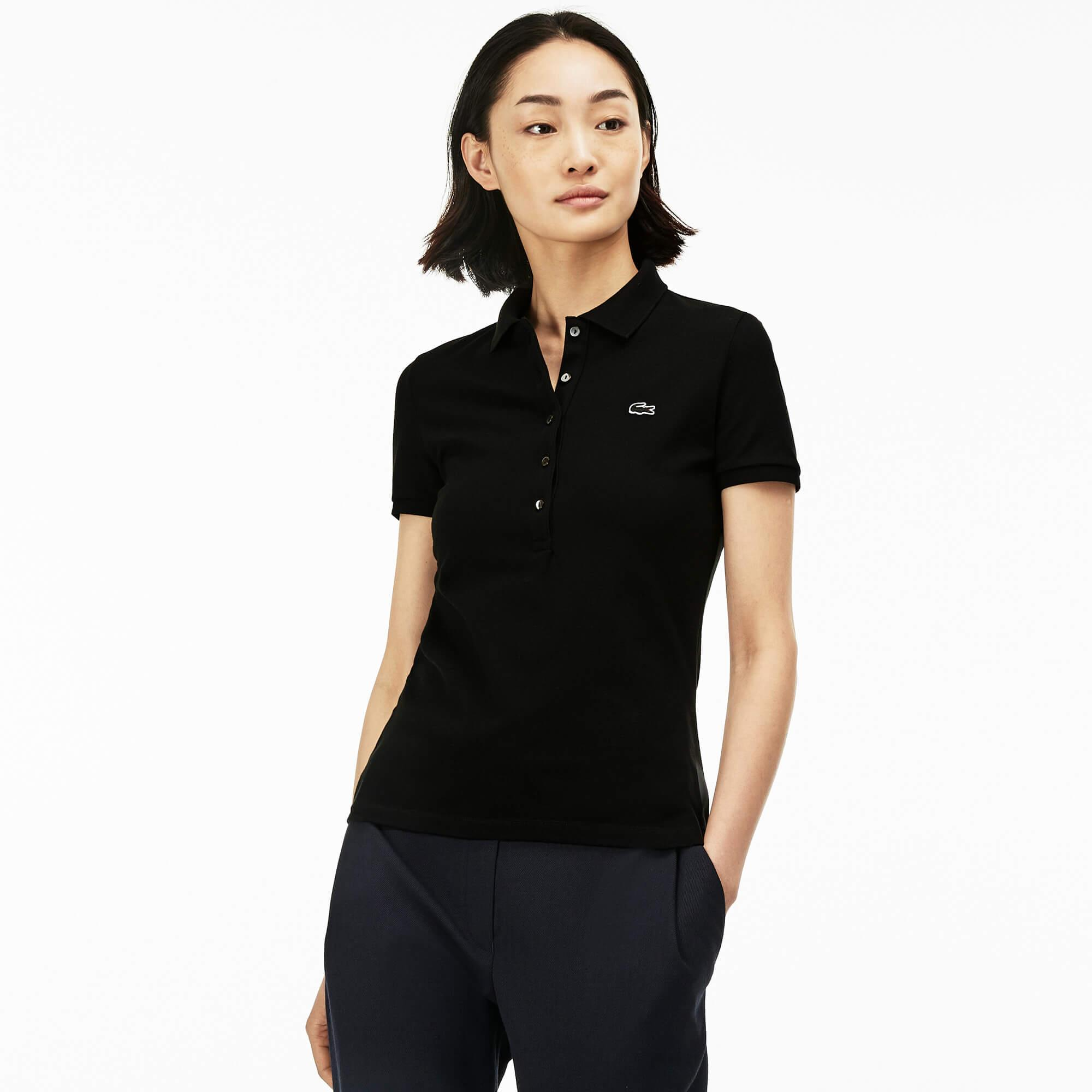 Lacoste Kadın Siyah Slim Fit Polo