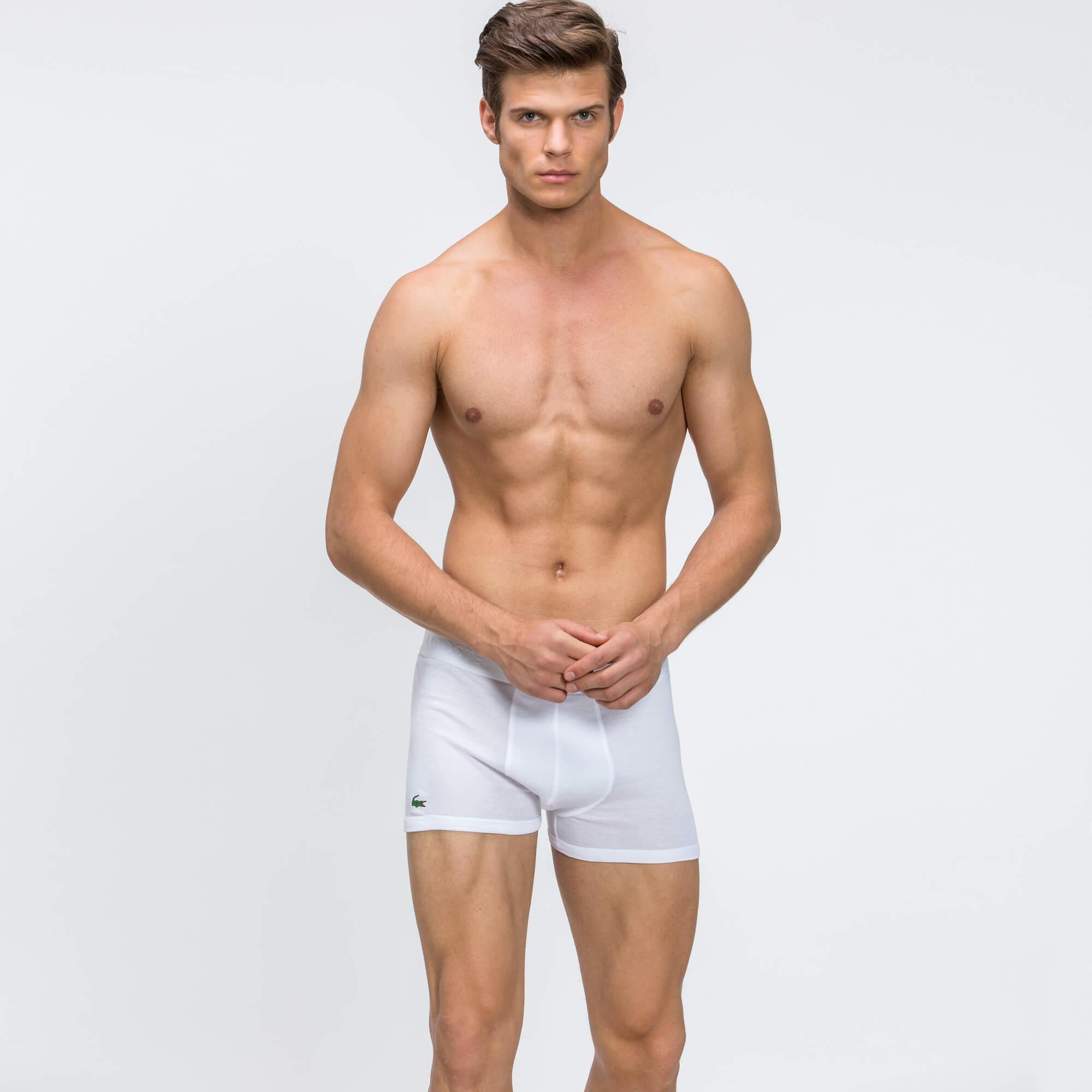 Lacoste Erkek 3'lü Beyaz Boxer