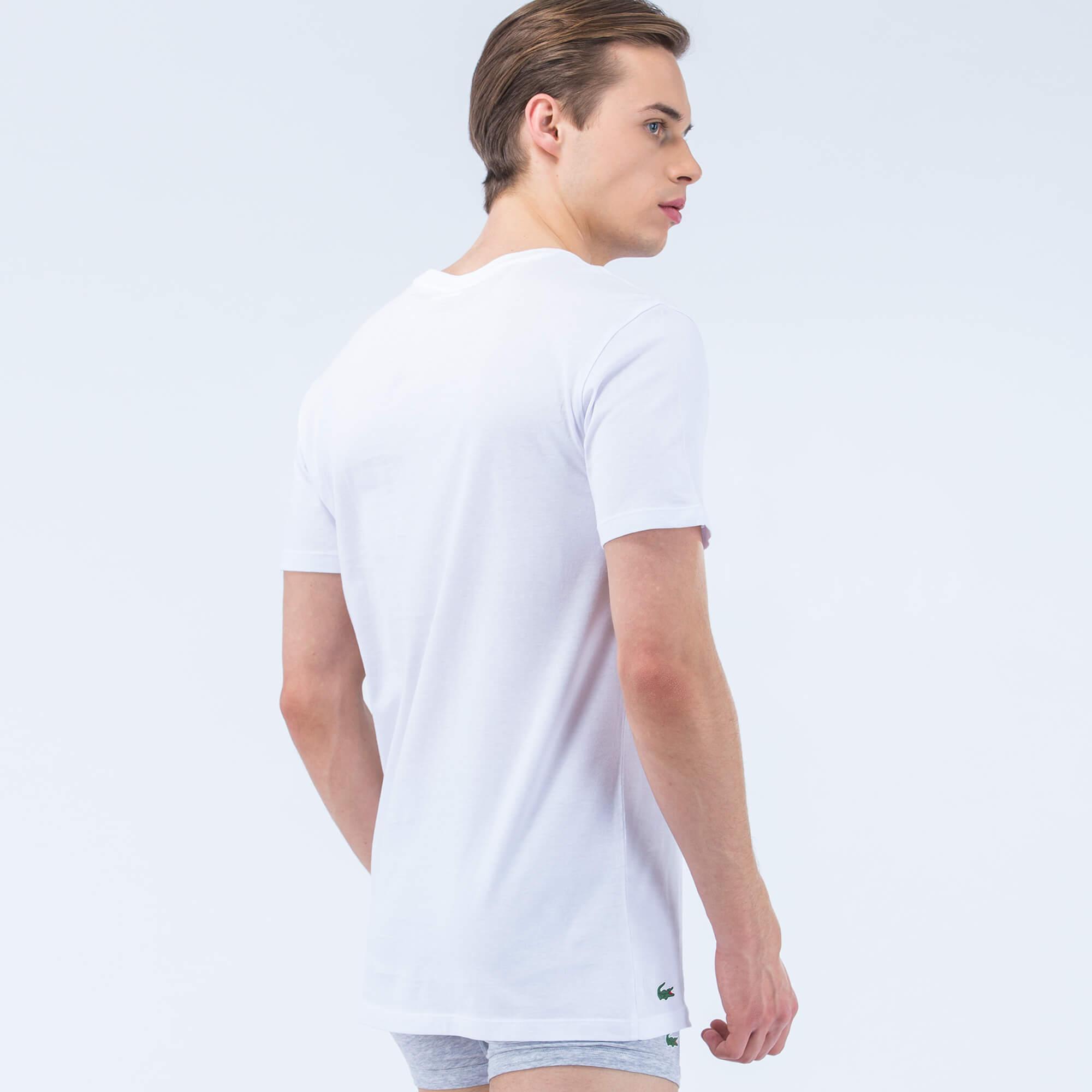 Lacoste Erkek 3'lü Beyaz İç Giyim Tshirt
