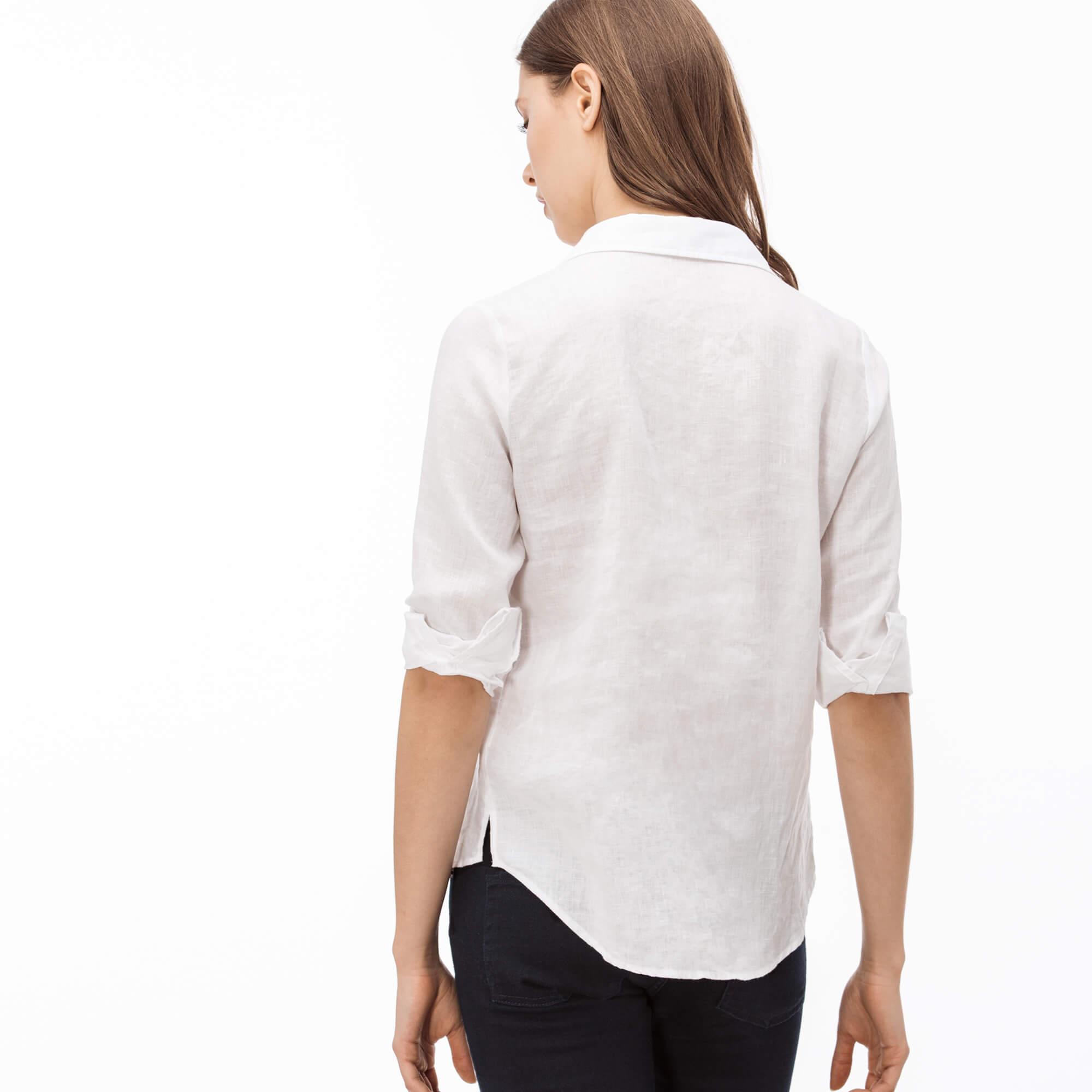 Lacoste Kadın Beyaz Keten Gömlek
