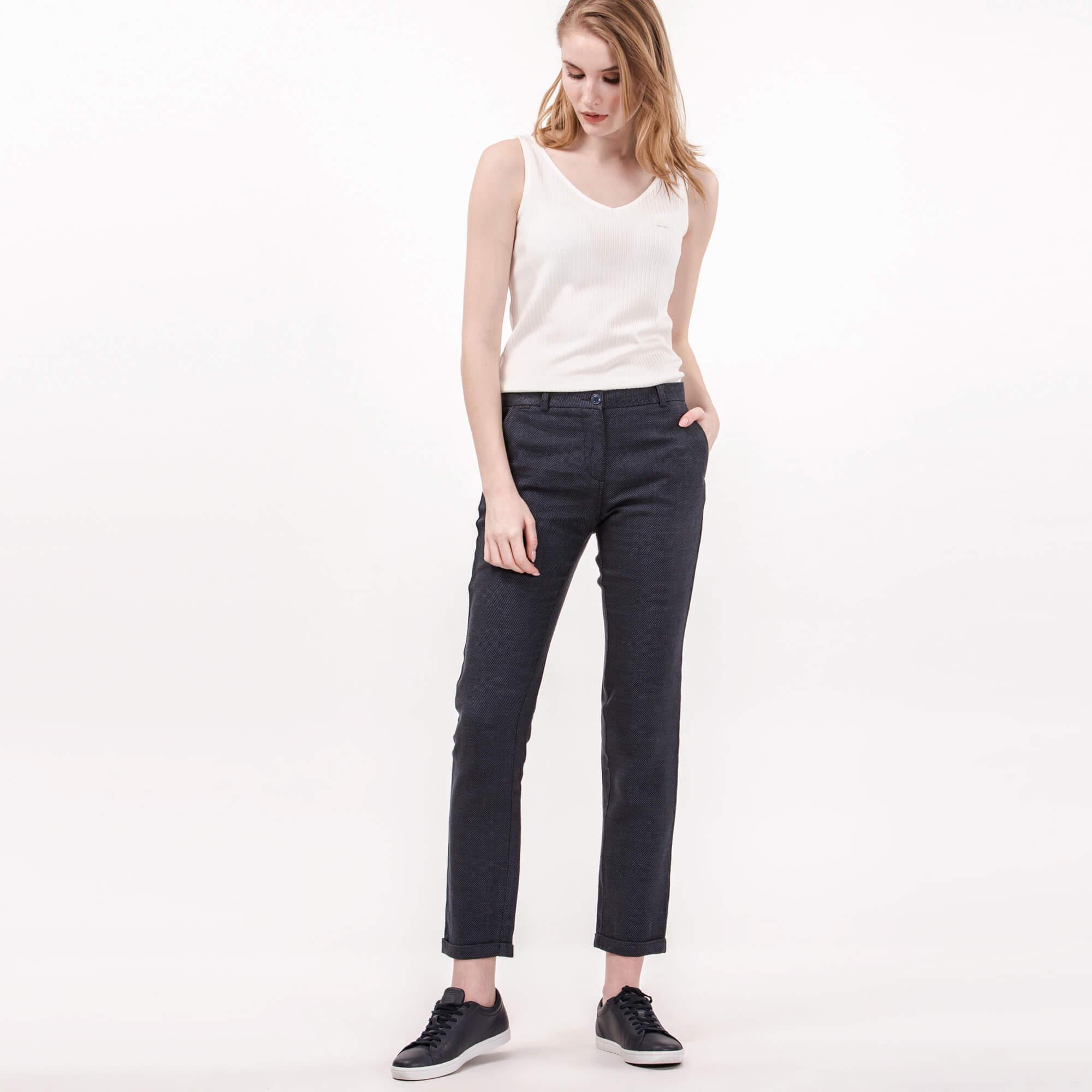 Lacoste Kadın Lacivert Keten Pantolon