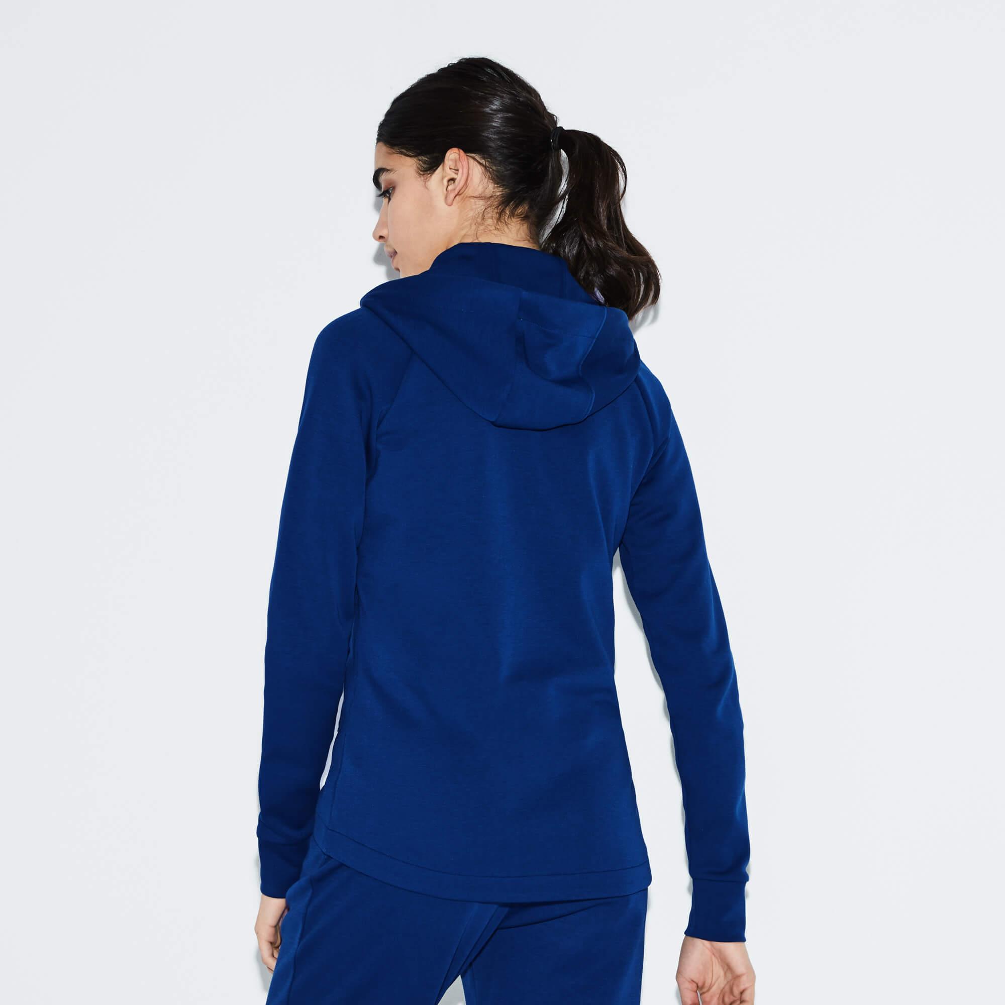 Lacoste Sport Kadın Kapüşonlu Mavi Sweatshirt