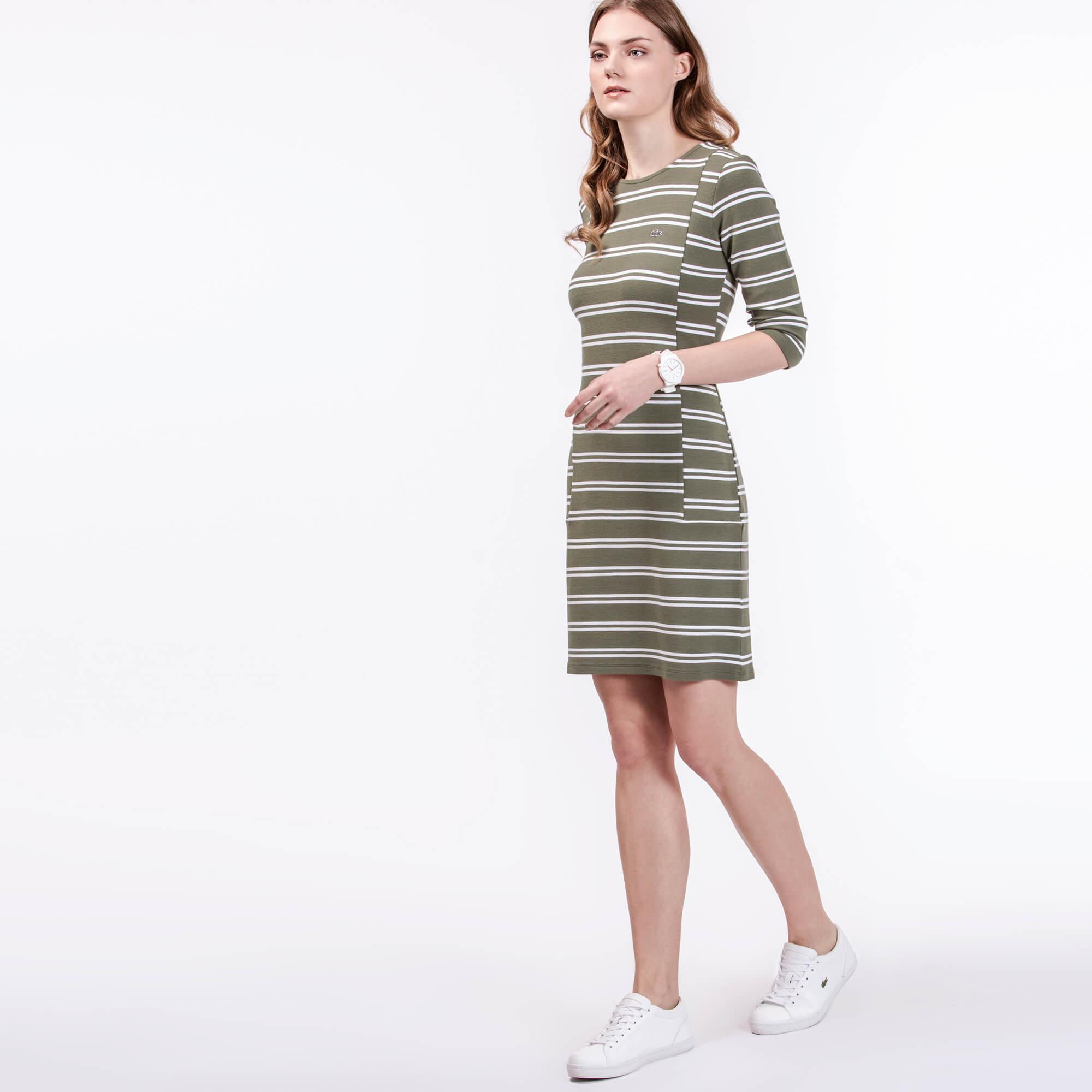Lacoste Kadın Çizgili Yeşil Elbise