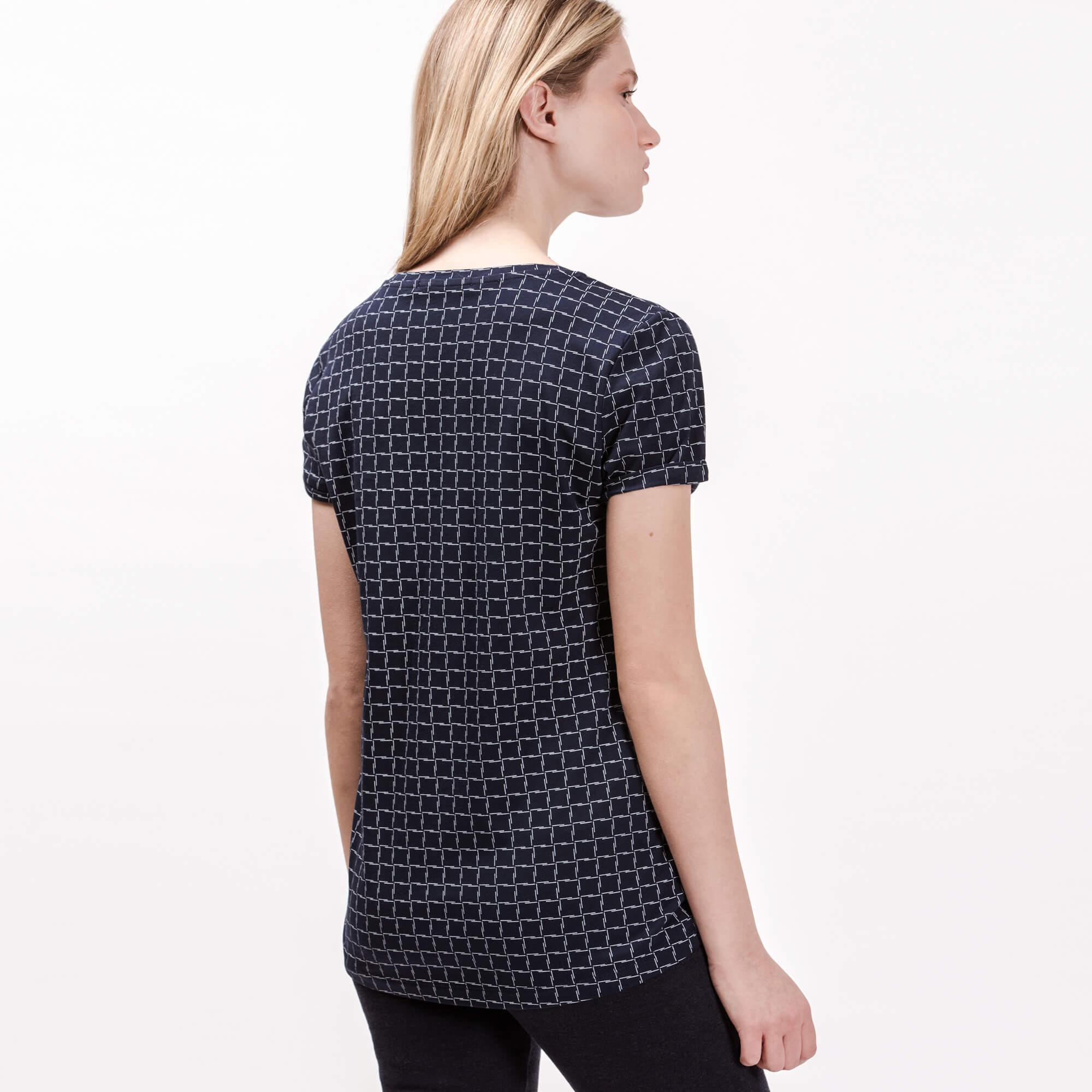 Lacoste Kadın Lacivert V Yaka T-shirt