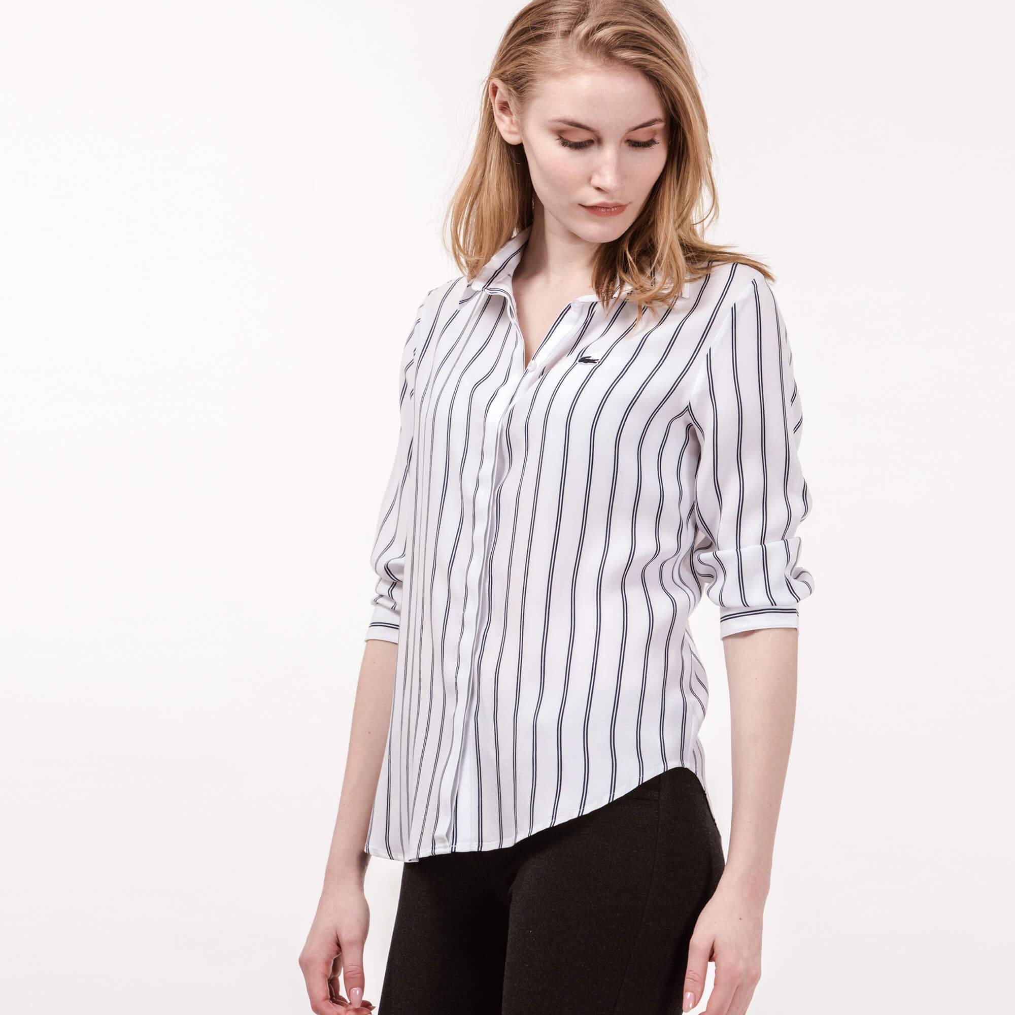 Lacoste Kadın Lacivert Çizgili Gömlek