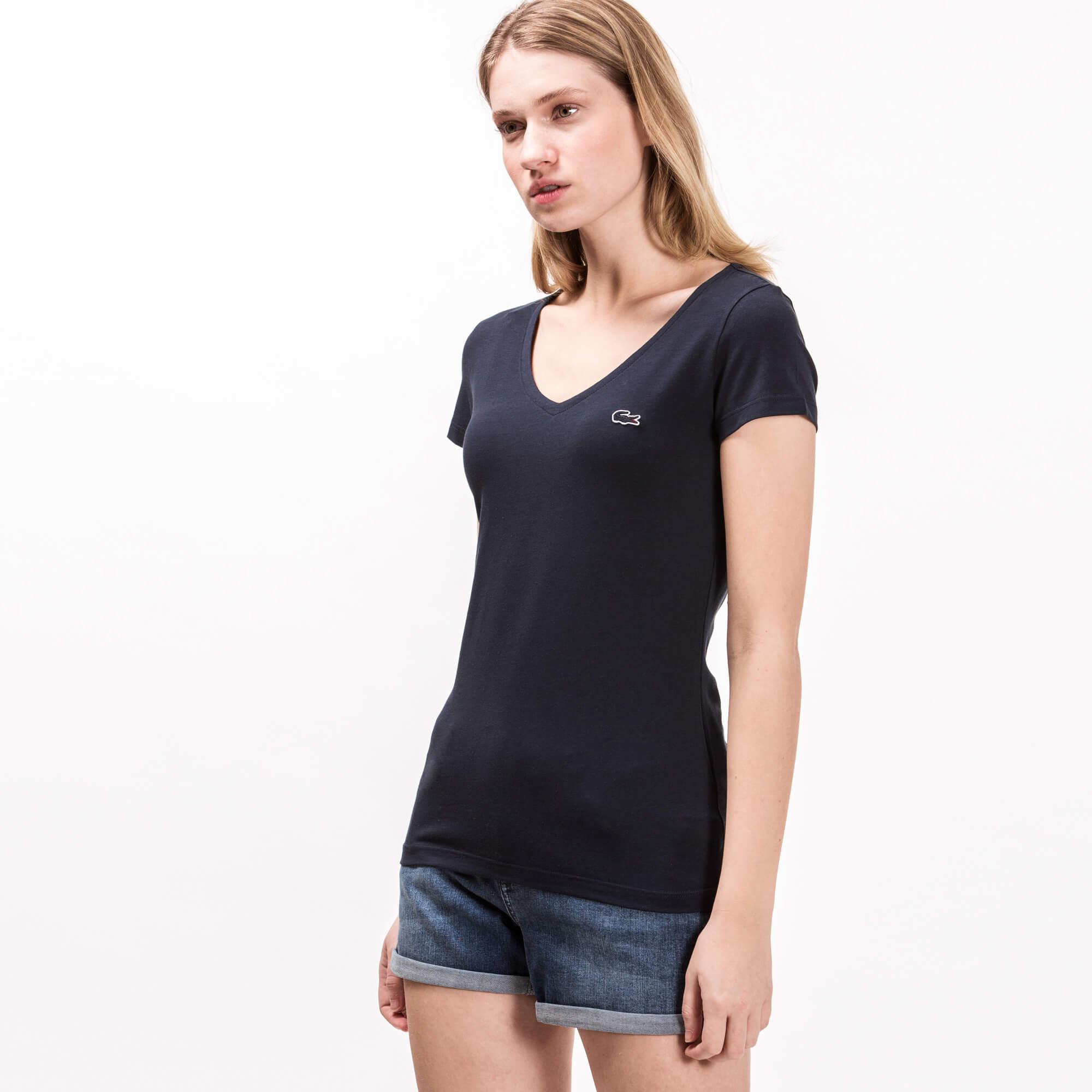 Lacoste Kadın V Yaka Lacivert T-Shirt