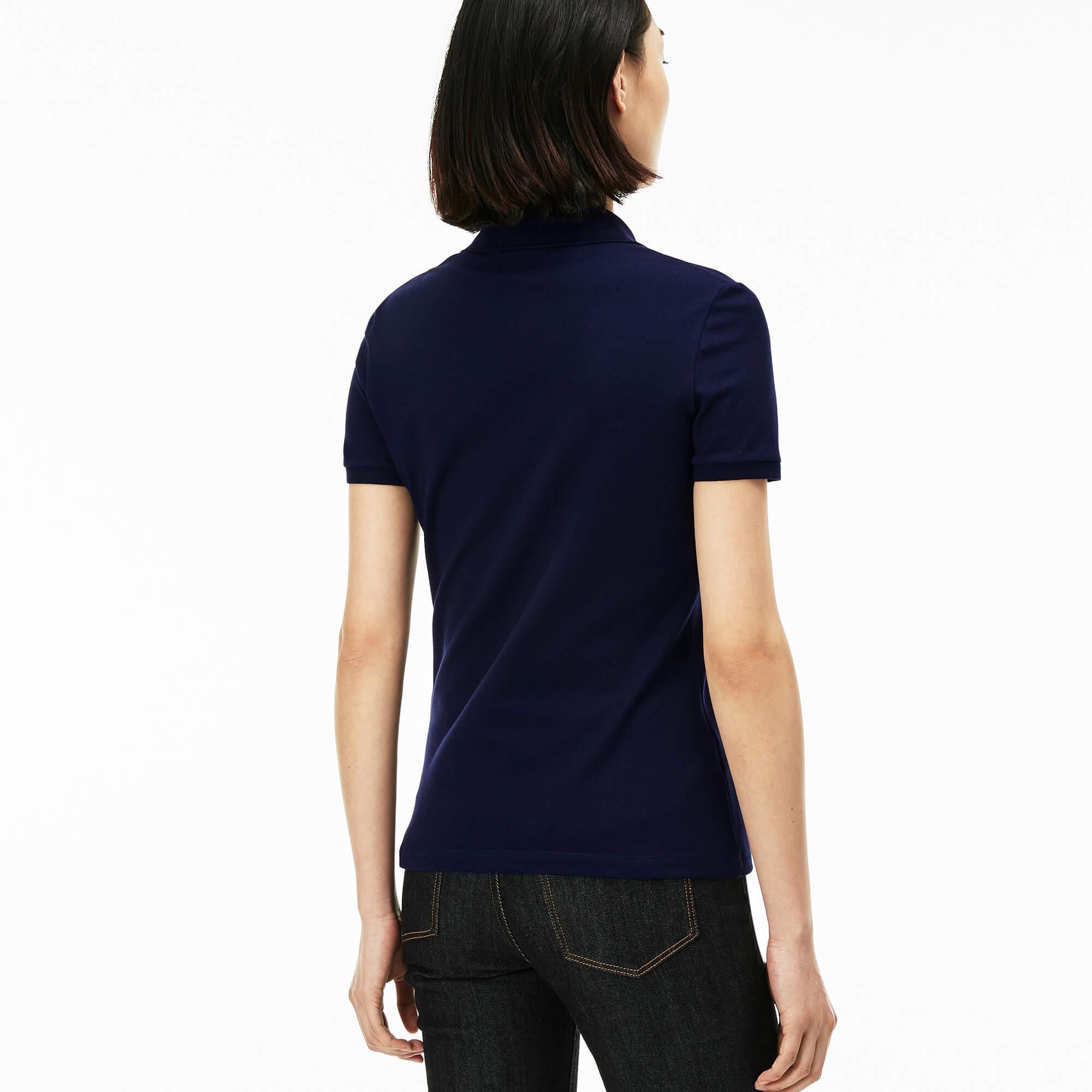 Lacoste Kadın Lacivert Slim Fit Polo