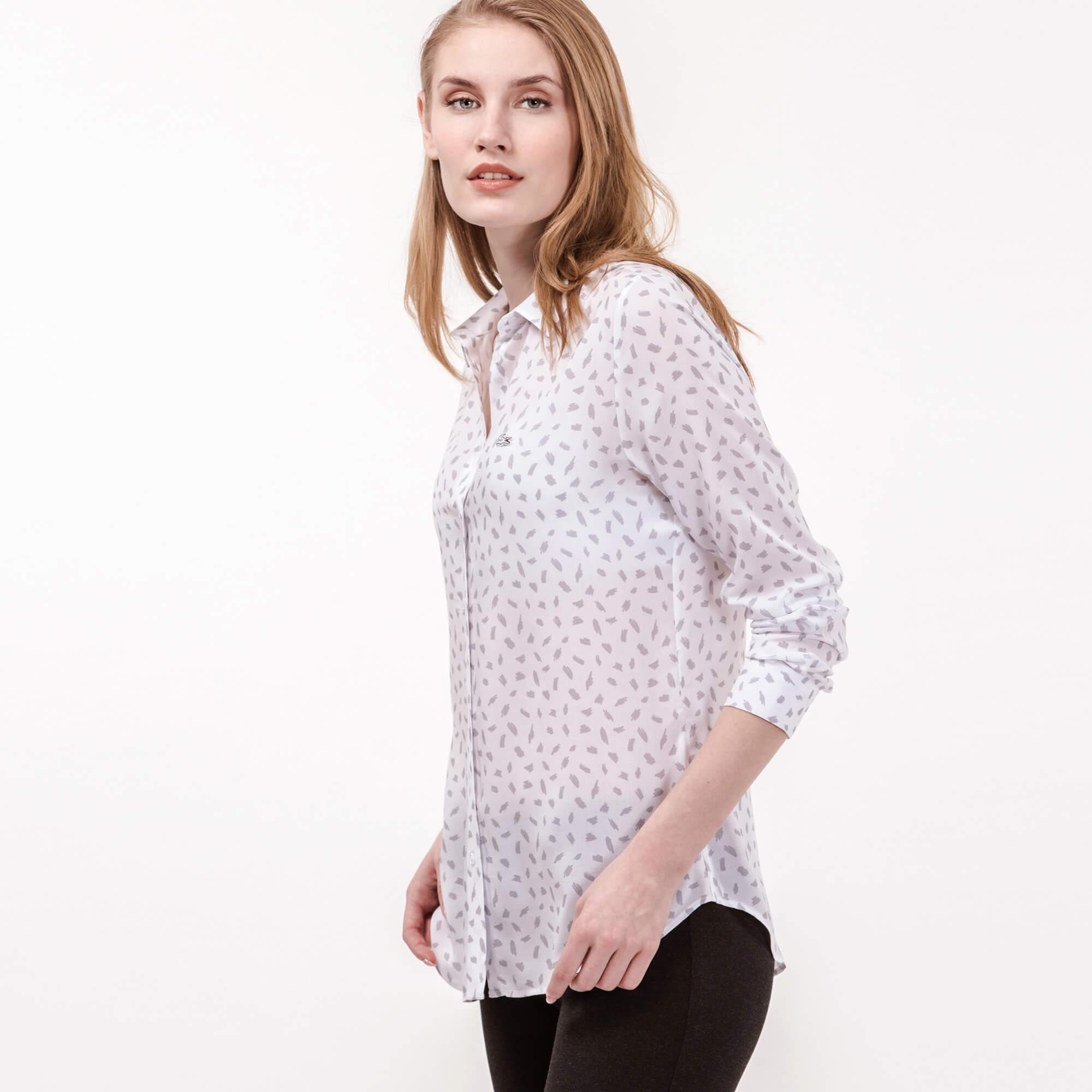 Lacoste Kadın Beyaz Baskılı Gömlek