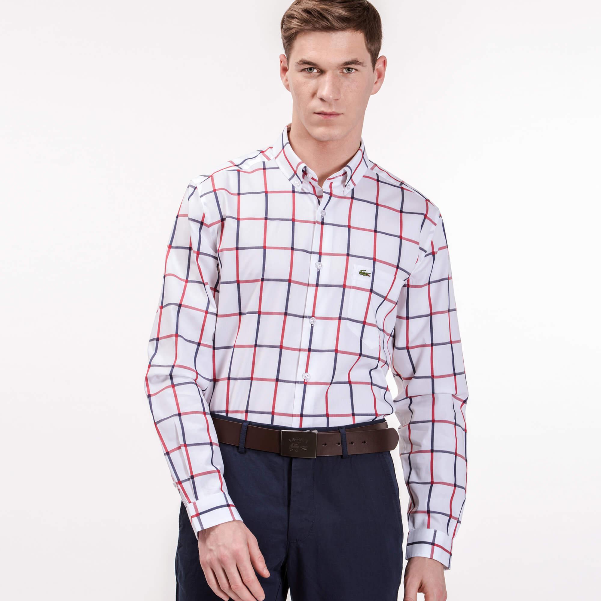 Lacoste Erkek Regular Fit Renkli Kareli Beyaz Gömlek