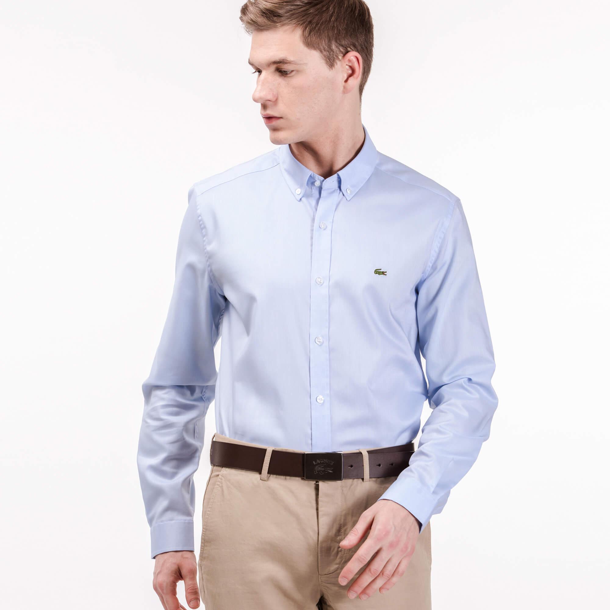 Lacoste Erkek Slim Fit Oxford Mavi Gömlek