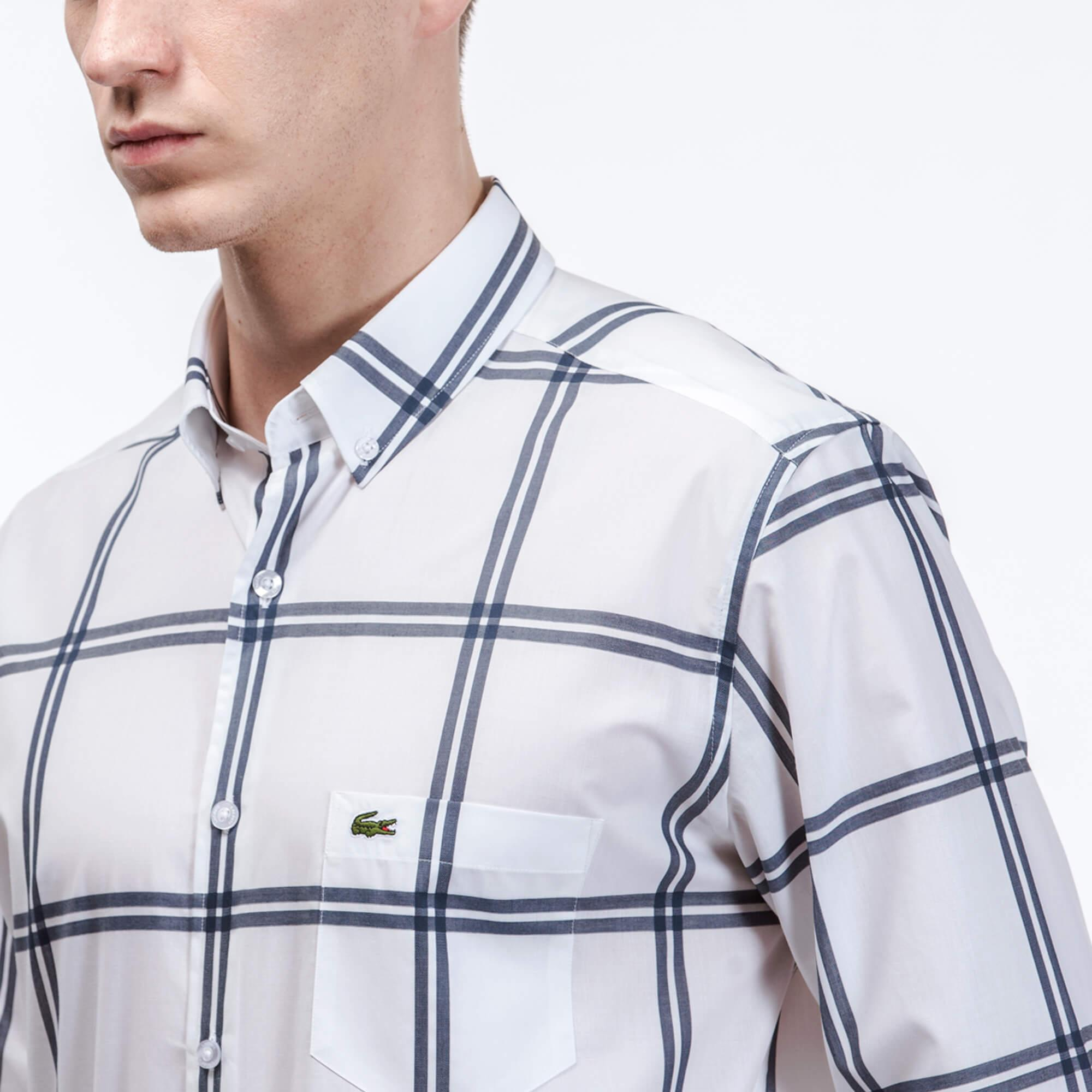 Lacoste Erkek Regular Fit Lacivert Çizgili Gömlek