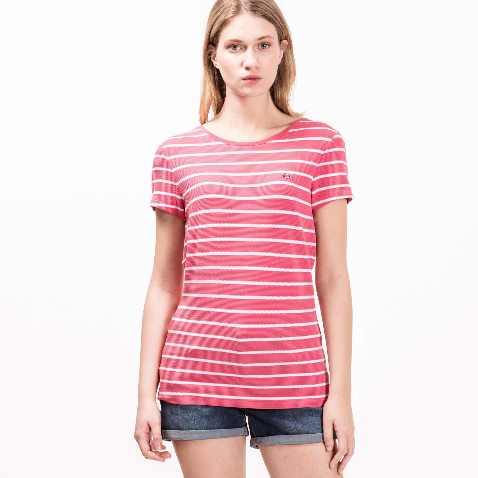 Lacoste Kadın Pembe Çizgili T-Shirt