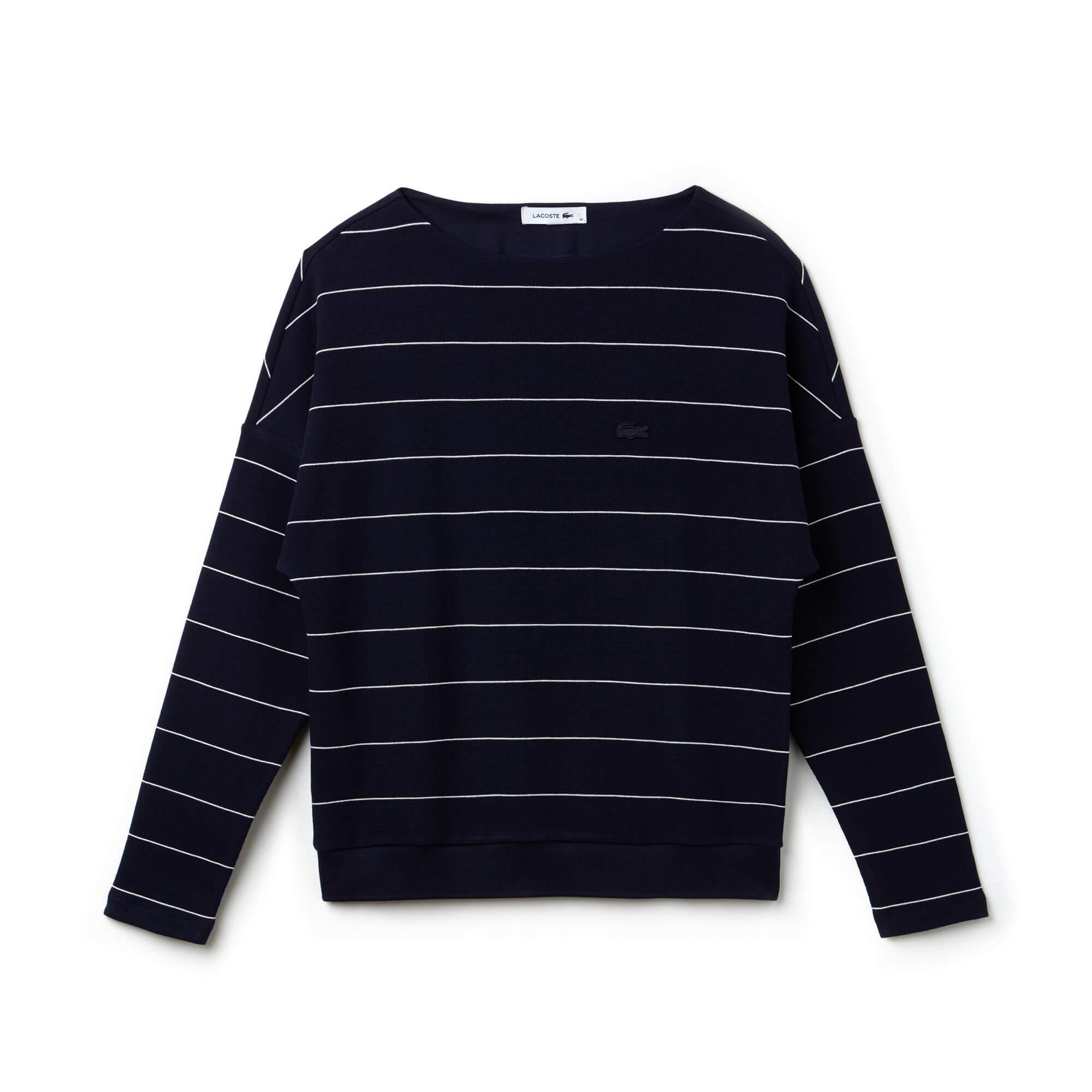 Lacoste Kadın Çizgili Lacivert Sweatshirt