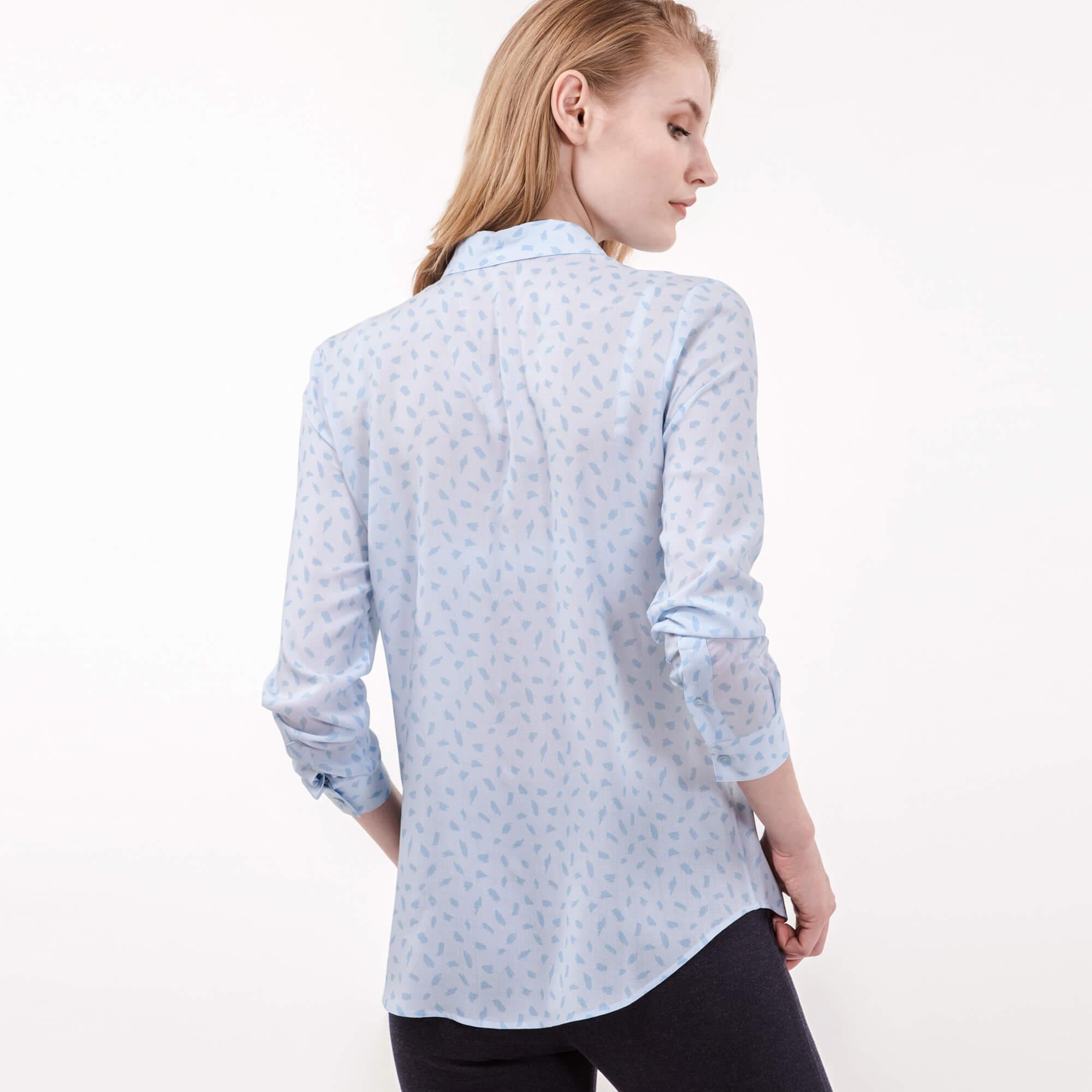 Lacoste Kadın Baskılı Mavi Gömlek