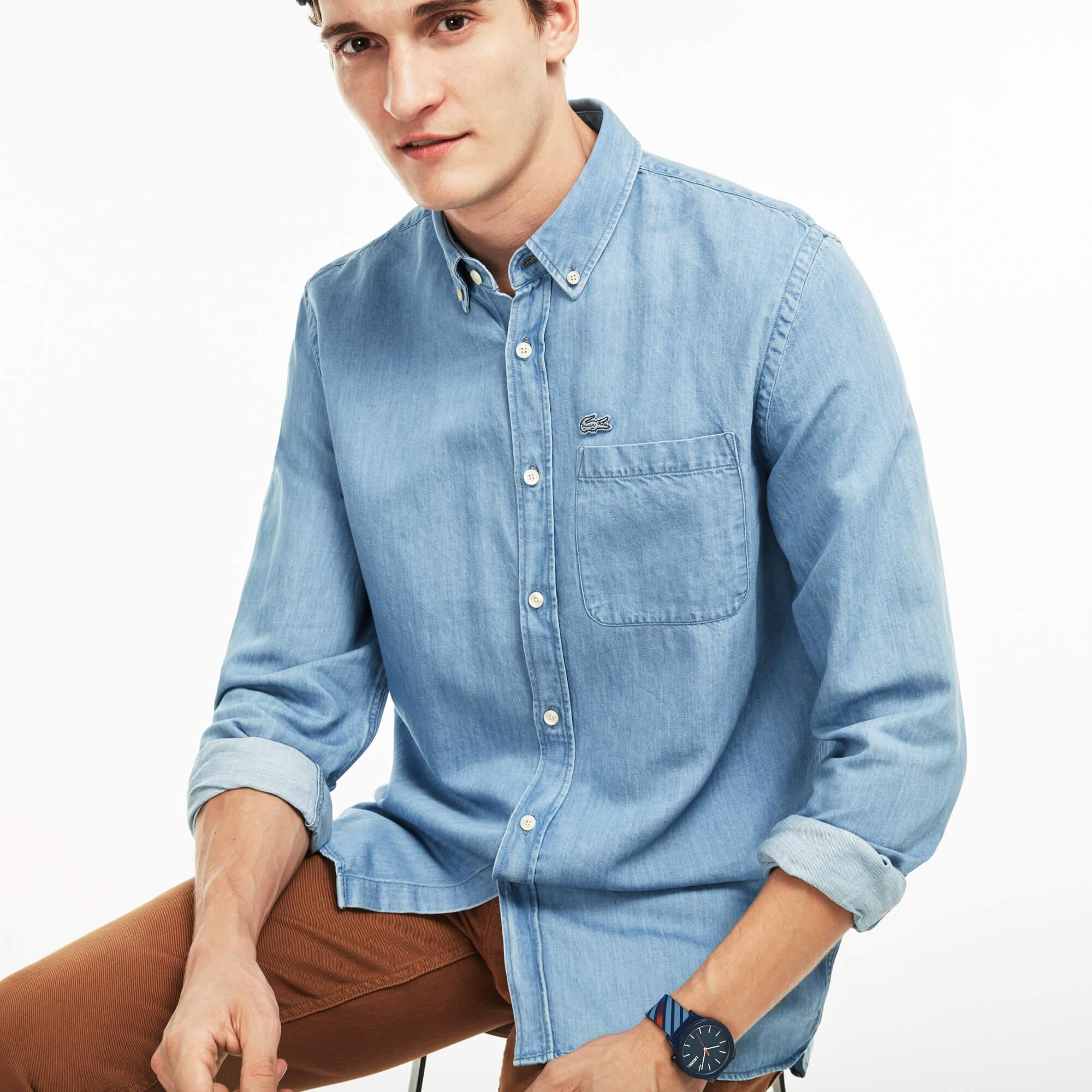 Lacoste Erkek Denim Mavi Gömlek