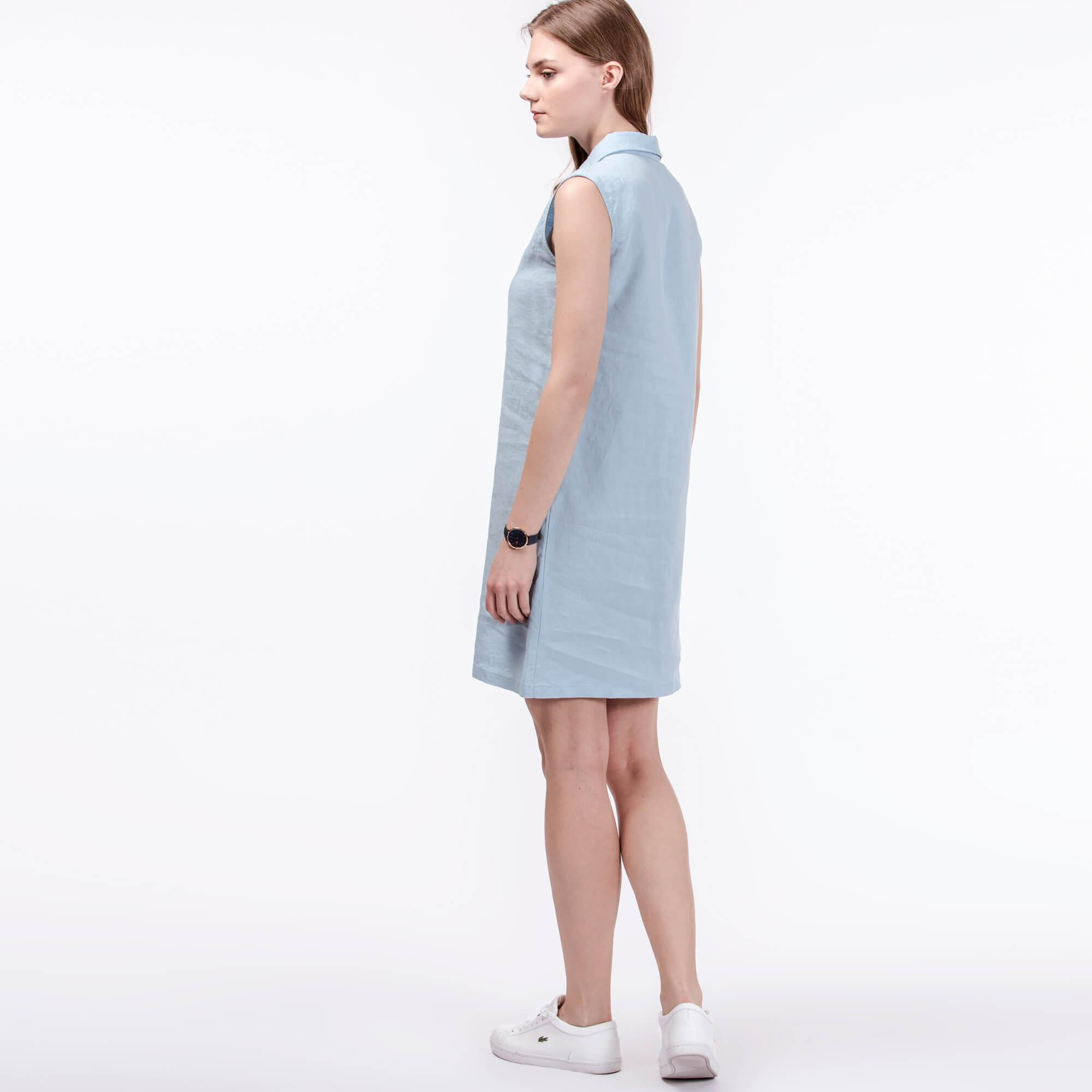 Lacoste Kadın Mavi Keten Elbise