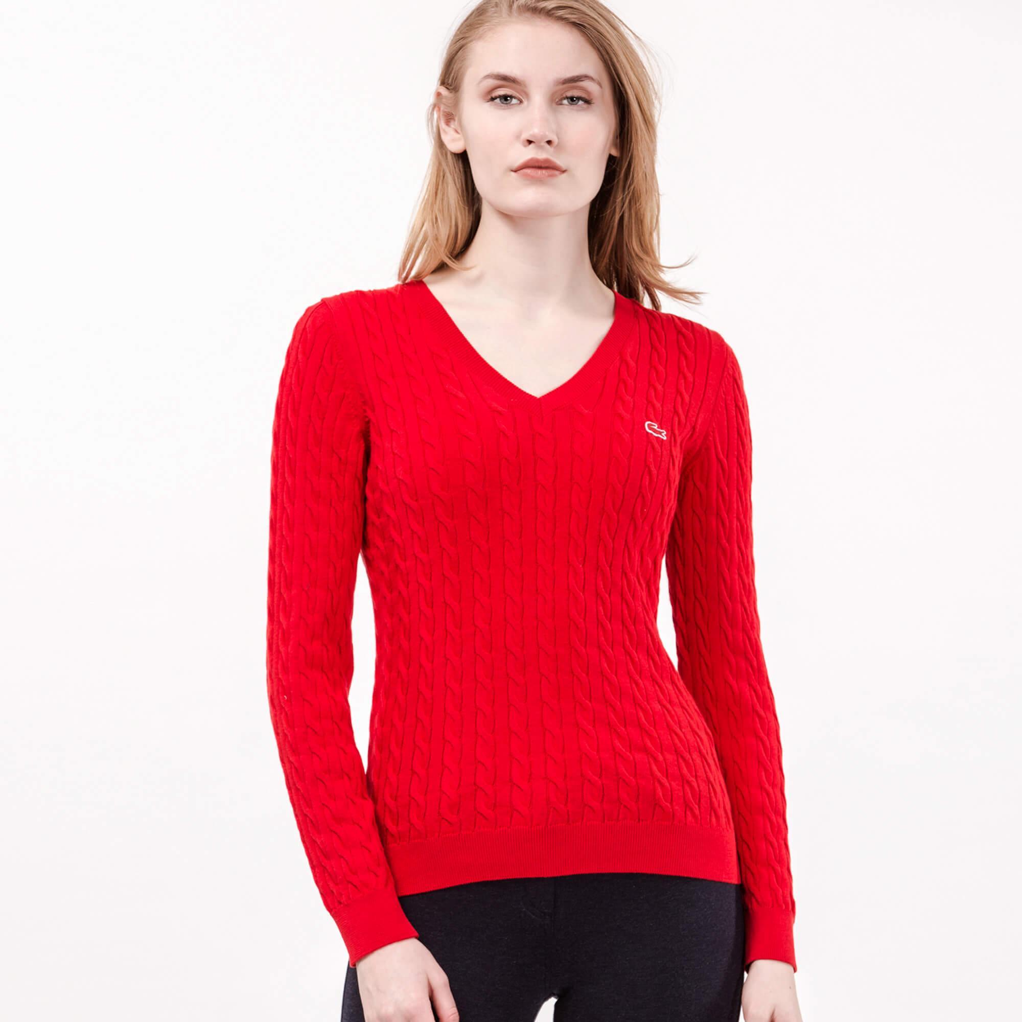 Lacoste Kadın V Yaka Kırmızı Triko