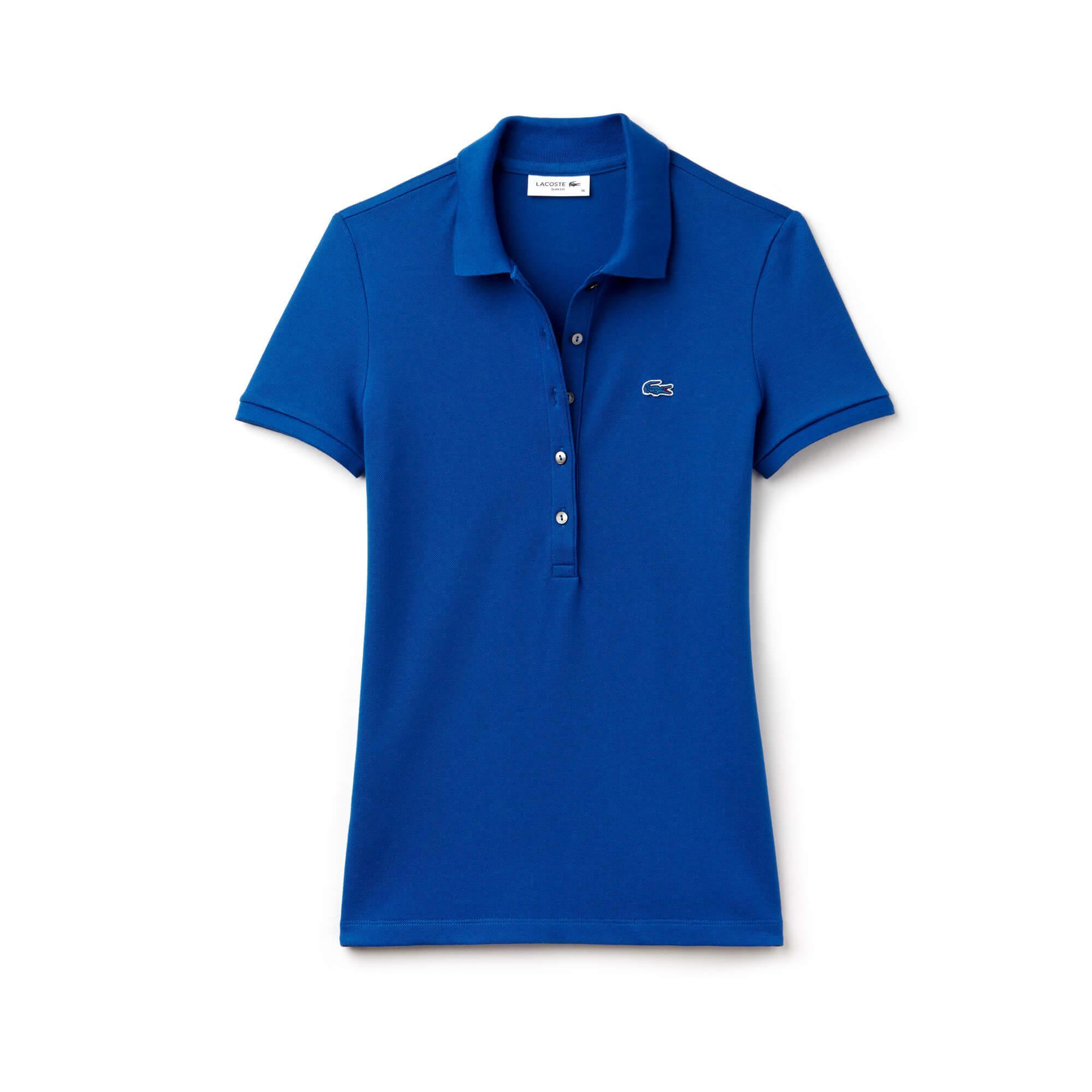 Lacoste Kadın Mavi Slim Fit Polo