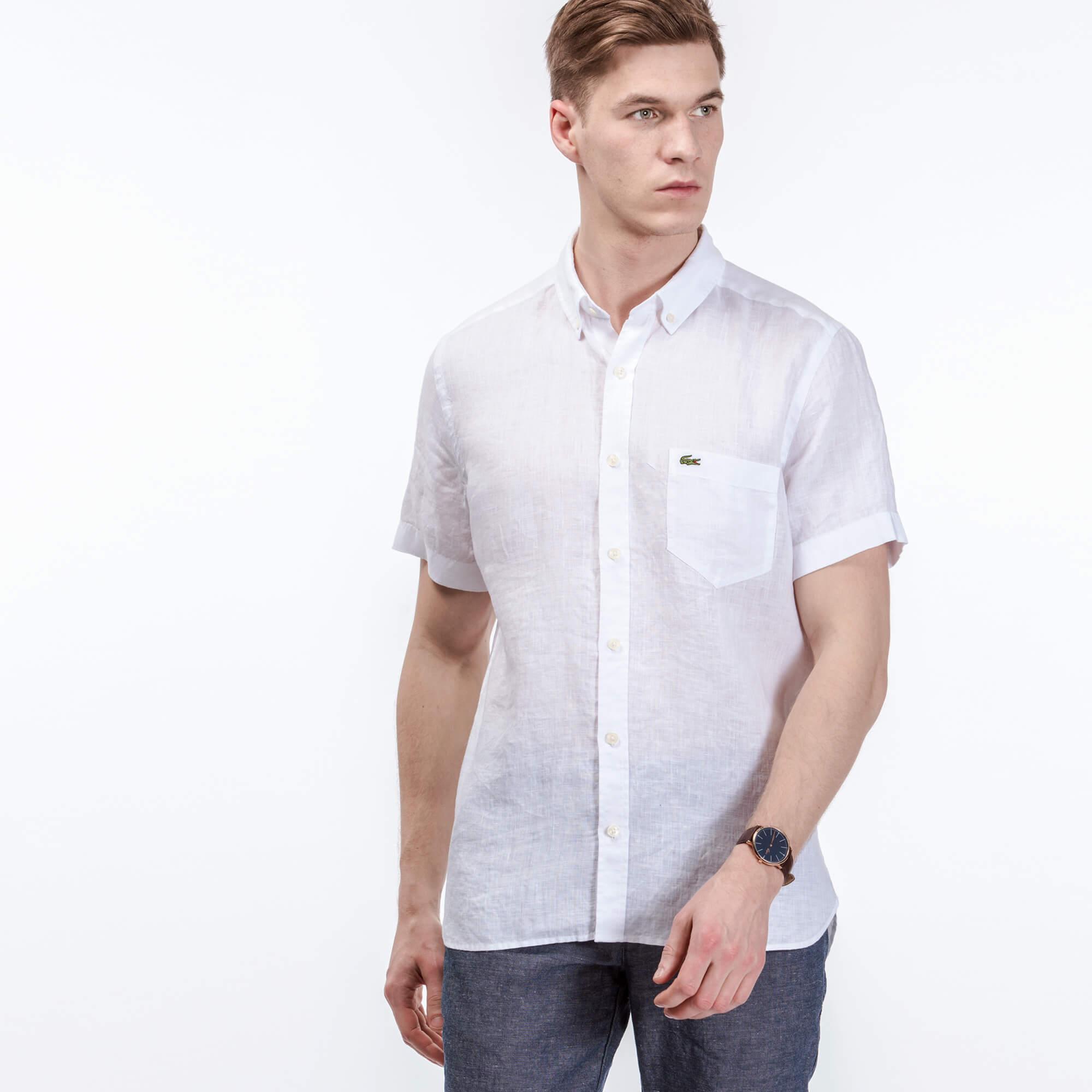 Lacoste Erkek Beyaz Keten Gömlek