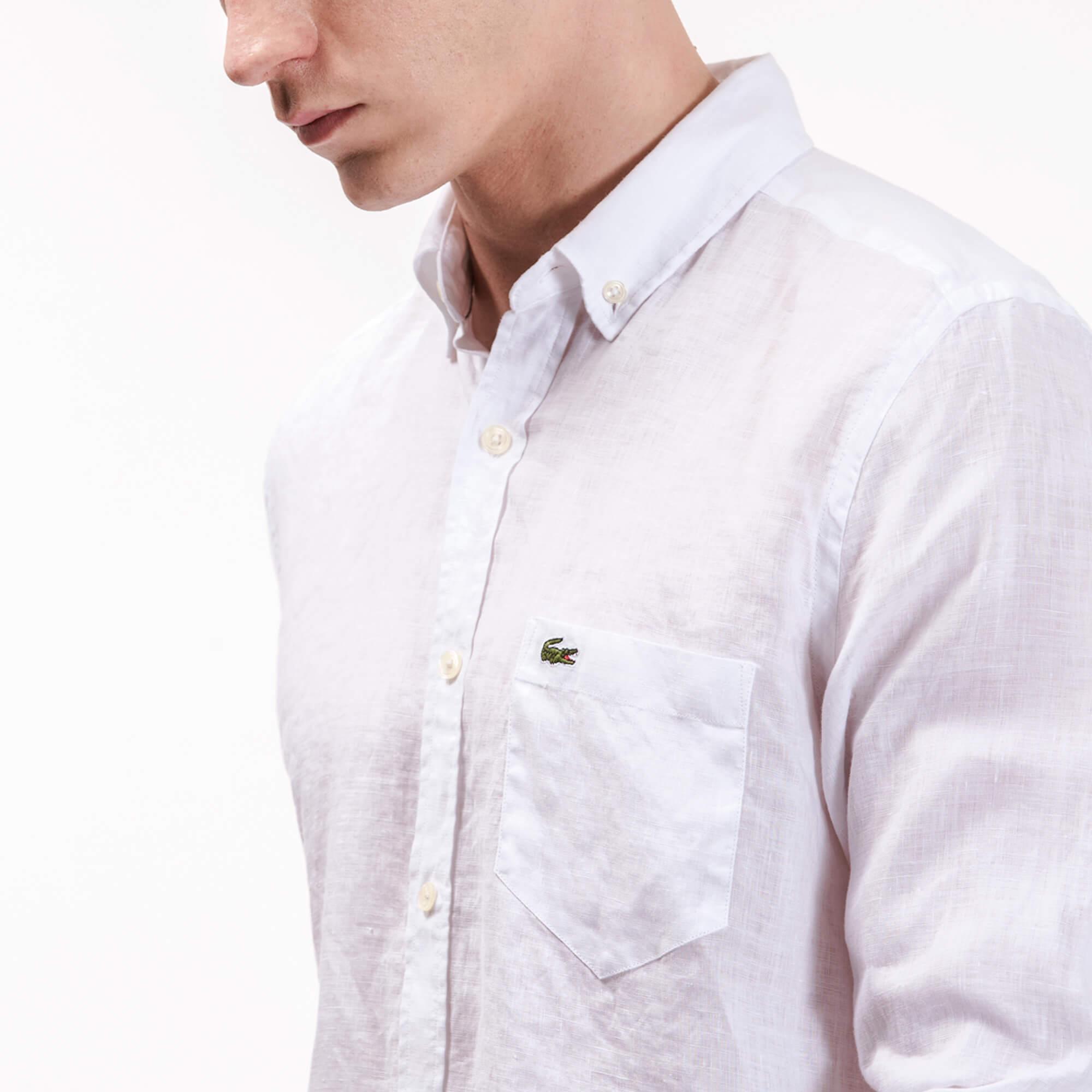 Lacoste Erkek Keten Beyaz Gömlek