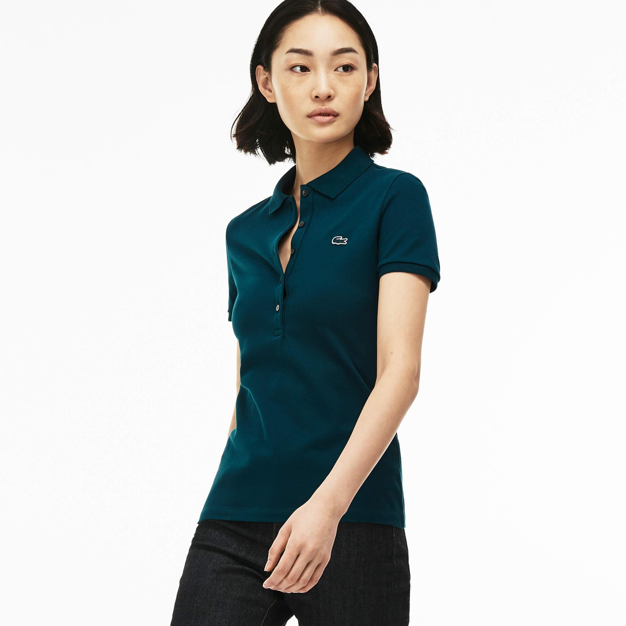 Lacoste Kadın Yeşil Slim Fit Polo