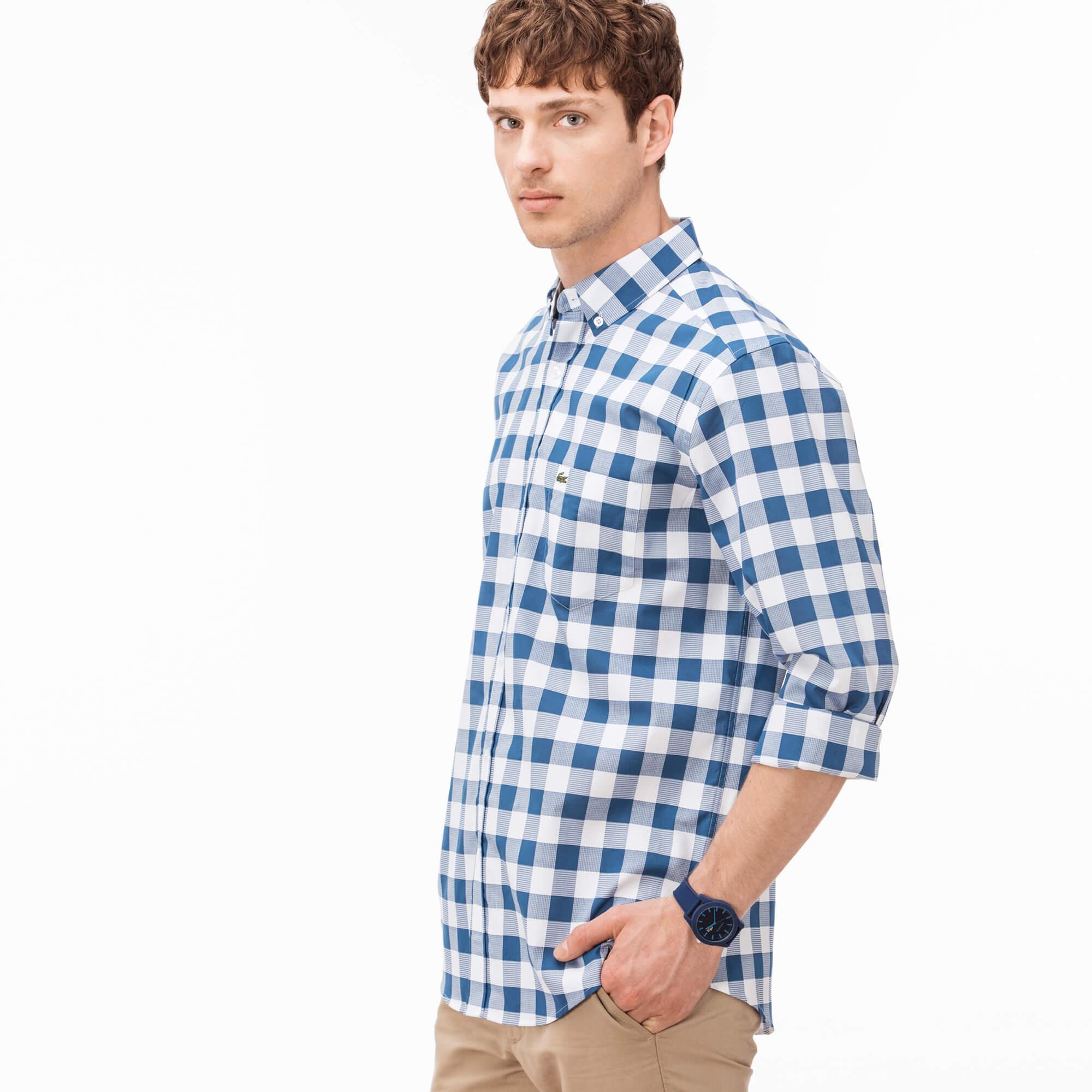 Lacoste Erkek Regular Fit Lacivert Kareli Gömlek