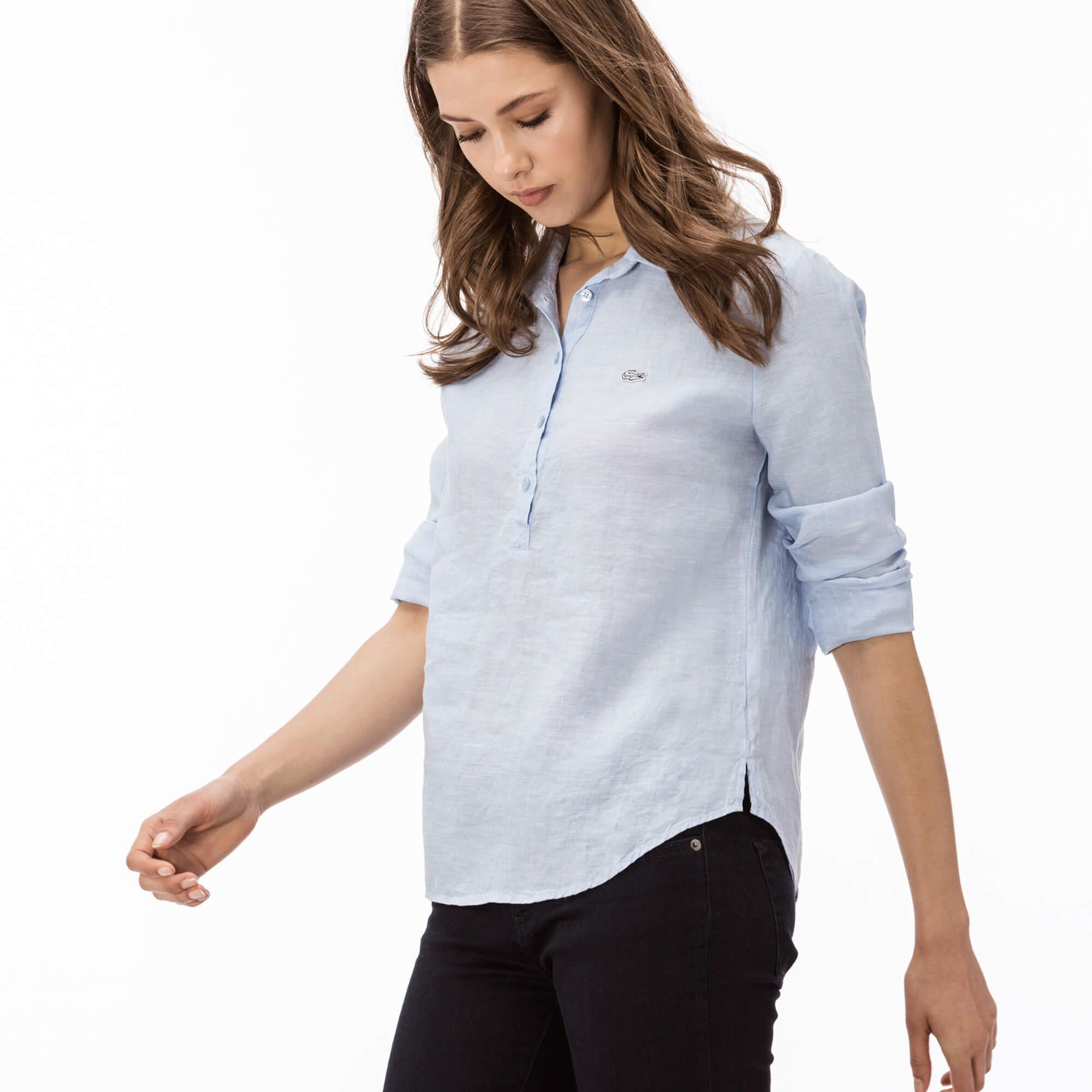 Lacoste Kadın Mavi Keten Gömlek