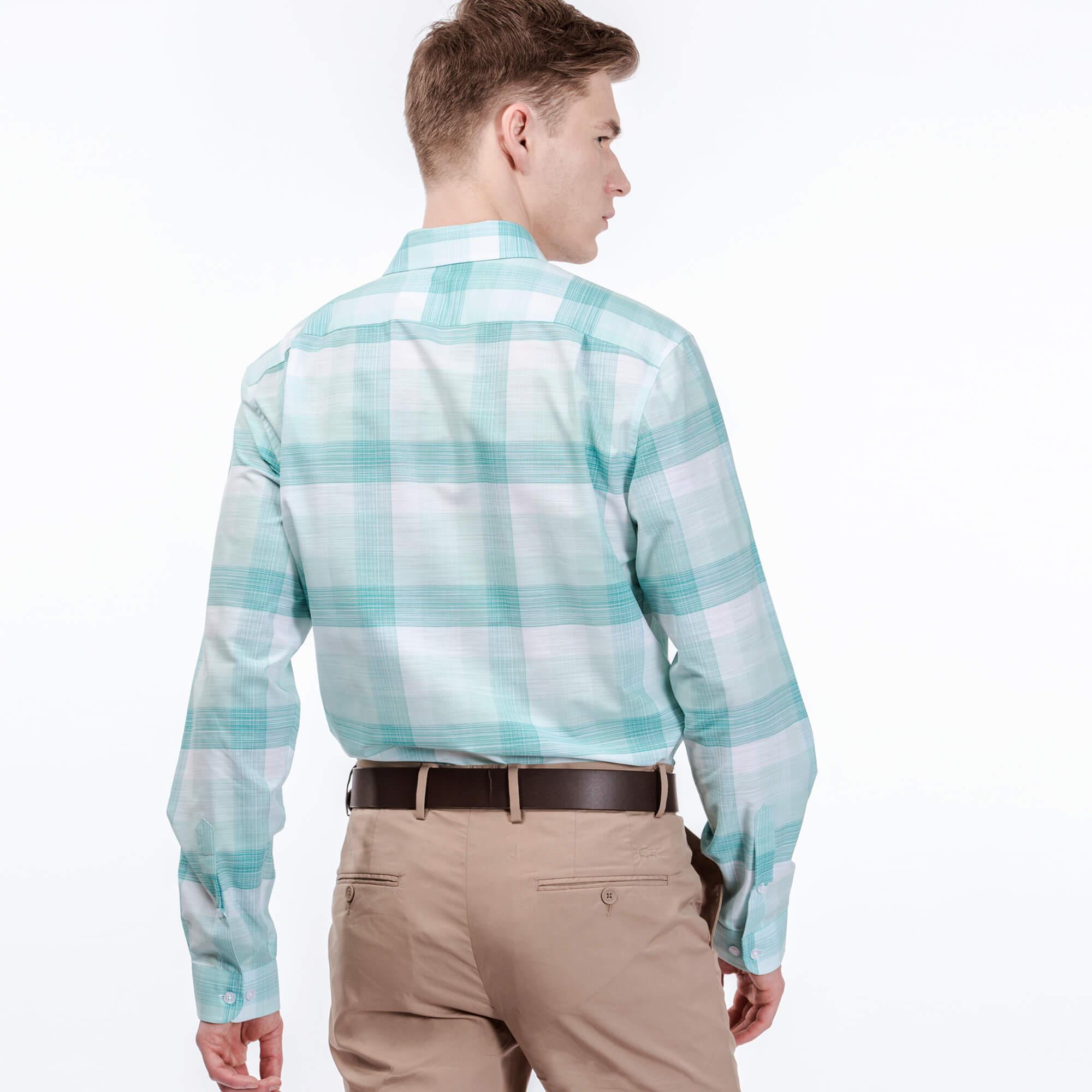 Lacoste Erkek Regular Fit Kareli Mavi Gömlek