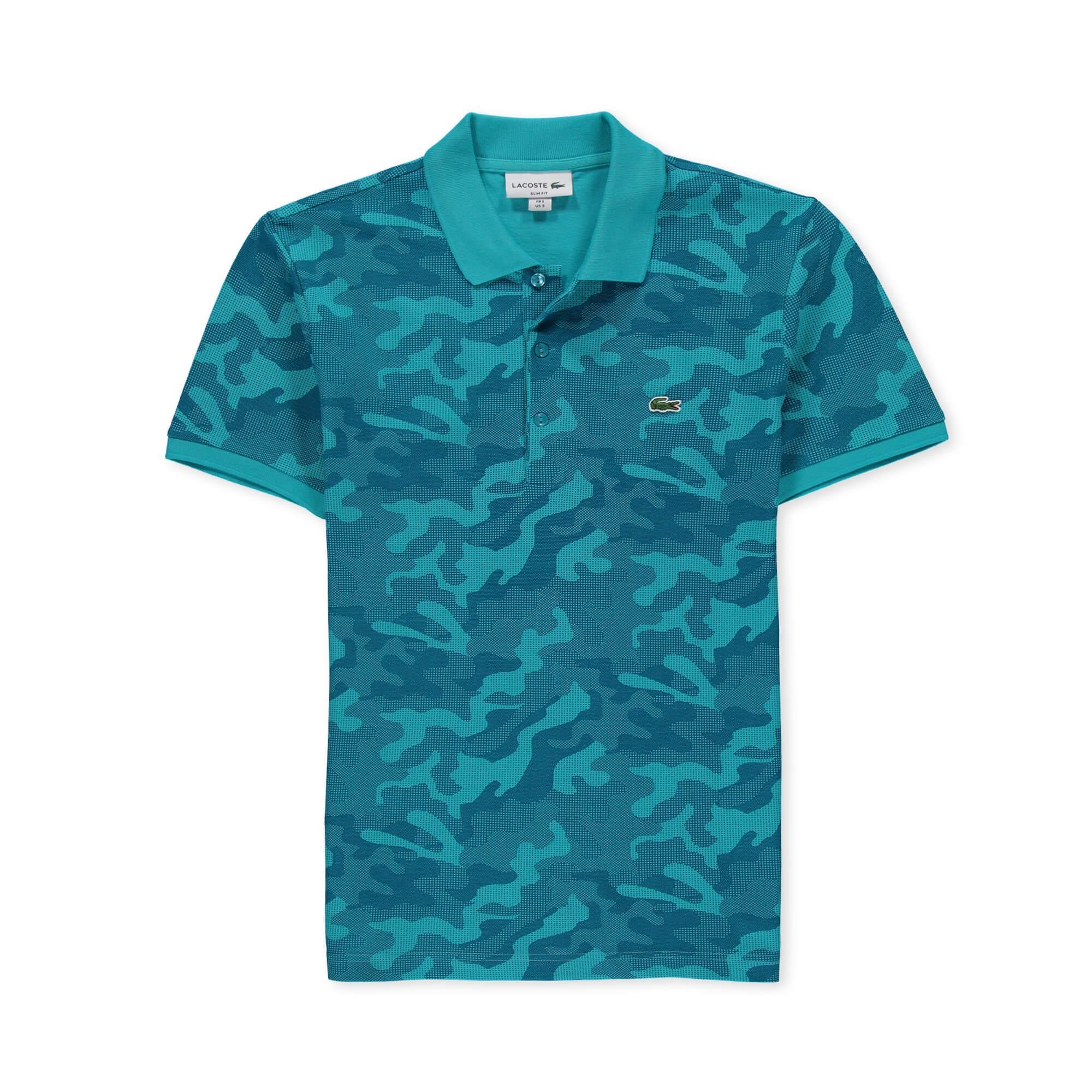 Lacoste Erkek Kamuflaj Desenli Mavi Polo