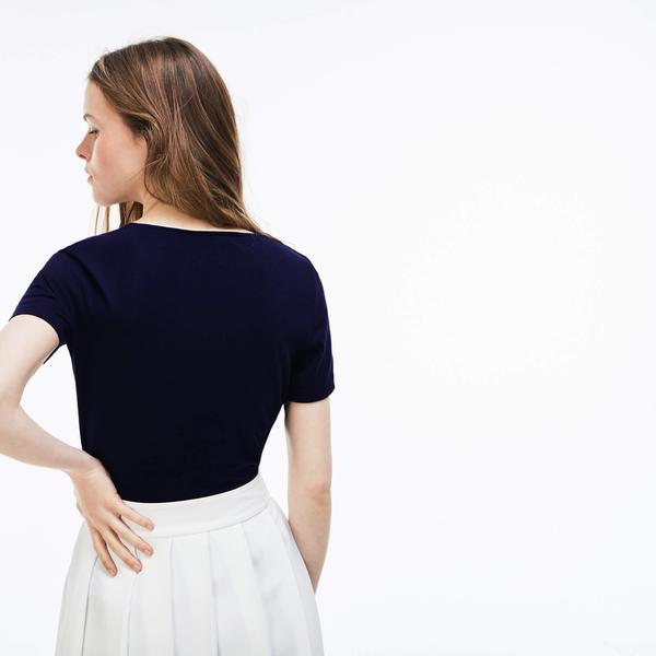 Lacoste Kadın Regular Fit Lacivert T-Shirt