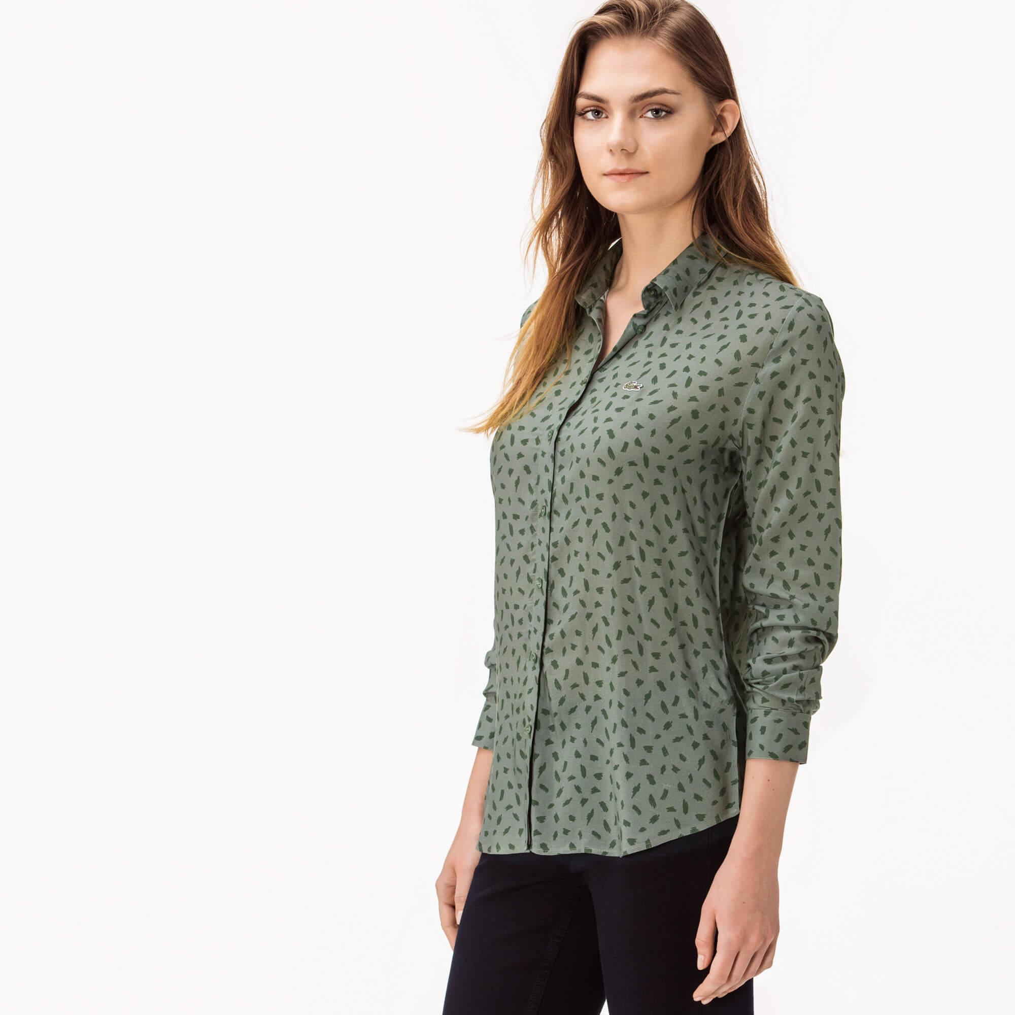 Lacoste Kadın Baskılı Yeşil Gömlek