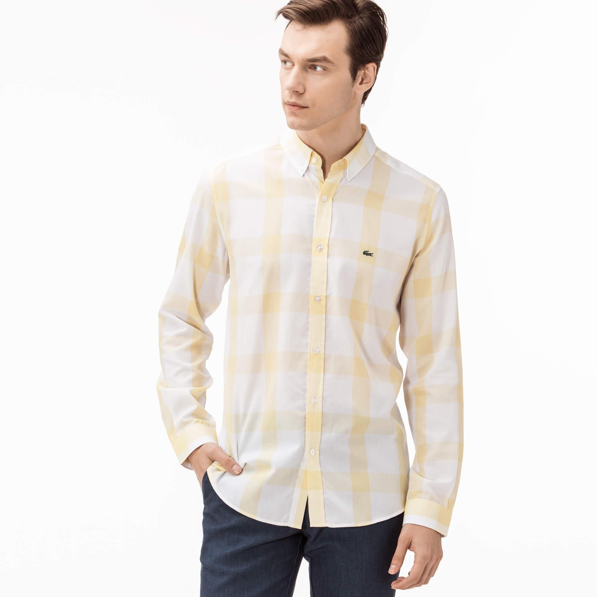 Lacoste Erkek Slim Fit Sarı Gömlek