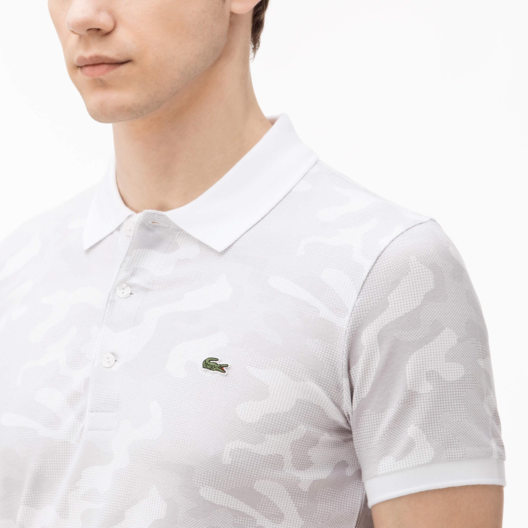 Lacoste Erkek Kamuflaj Desenli Beyaz Polo