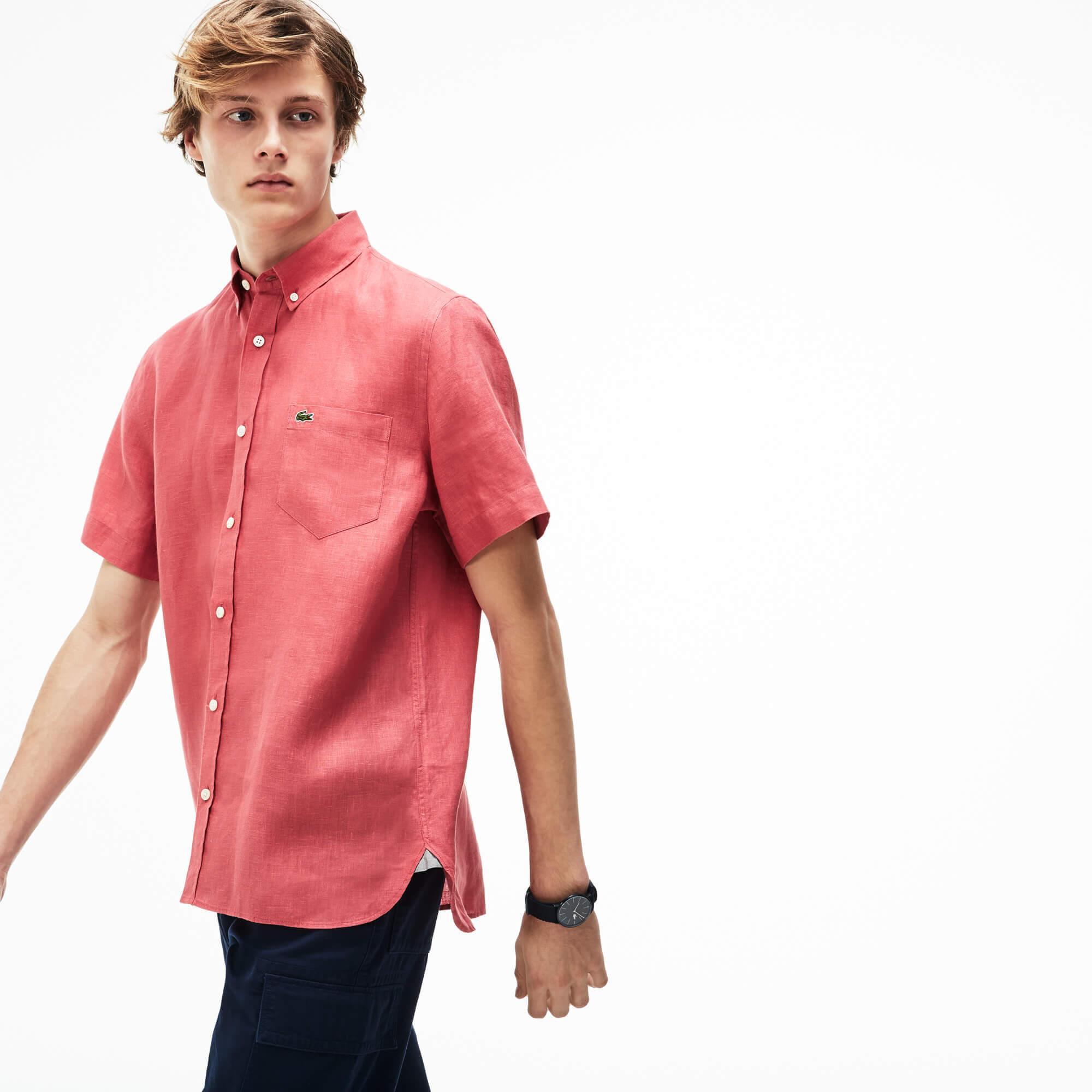 Lacoste Erkek Kırmızı Keten Gömlek