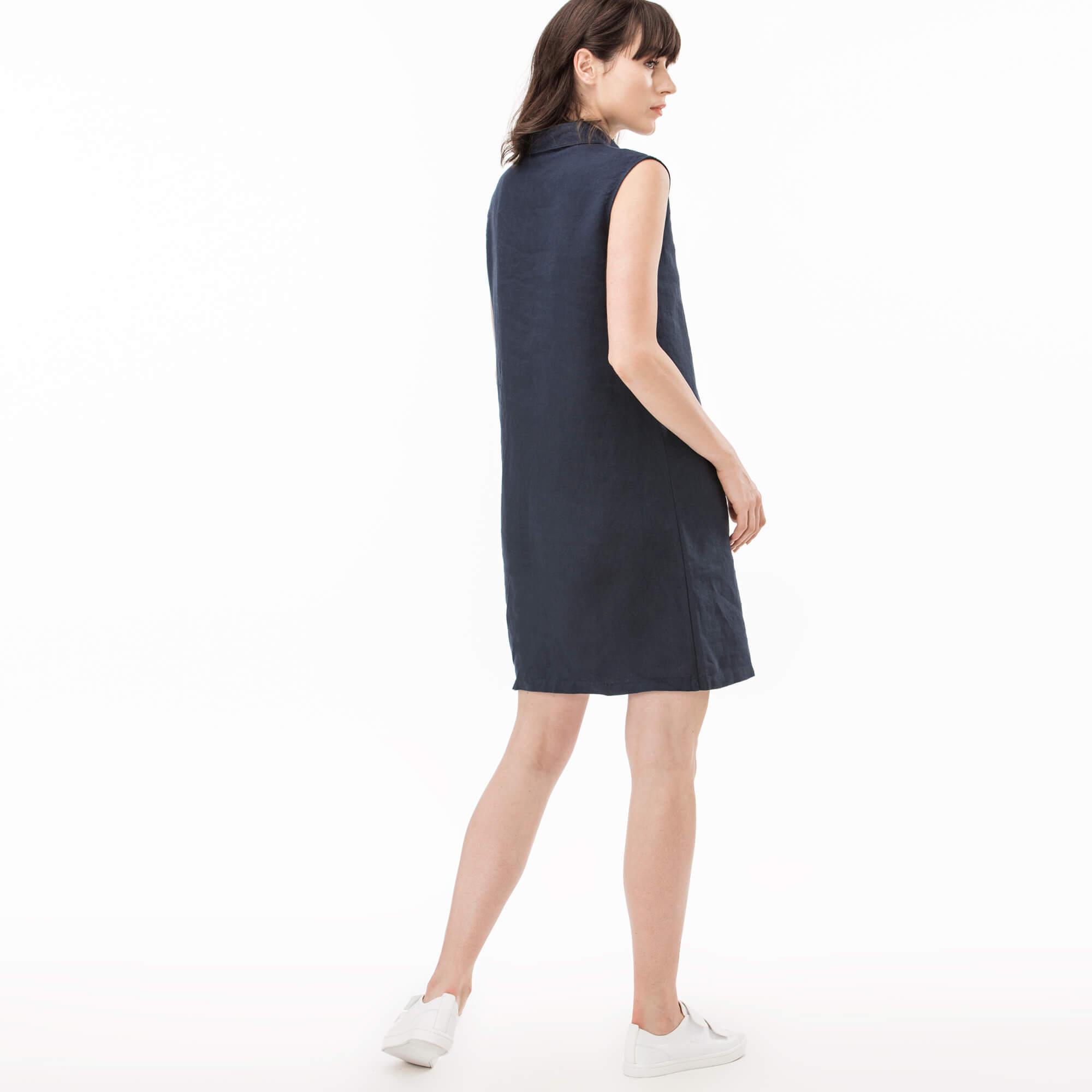 Lacoste Kadın Lacivert Keten Elbise