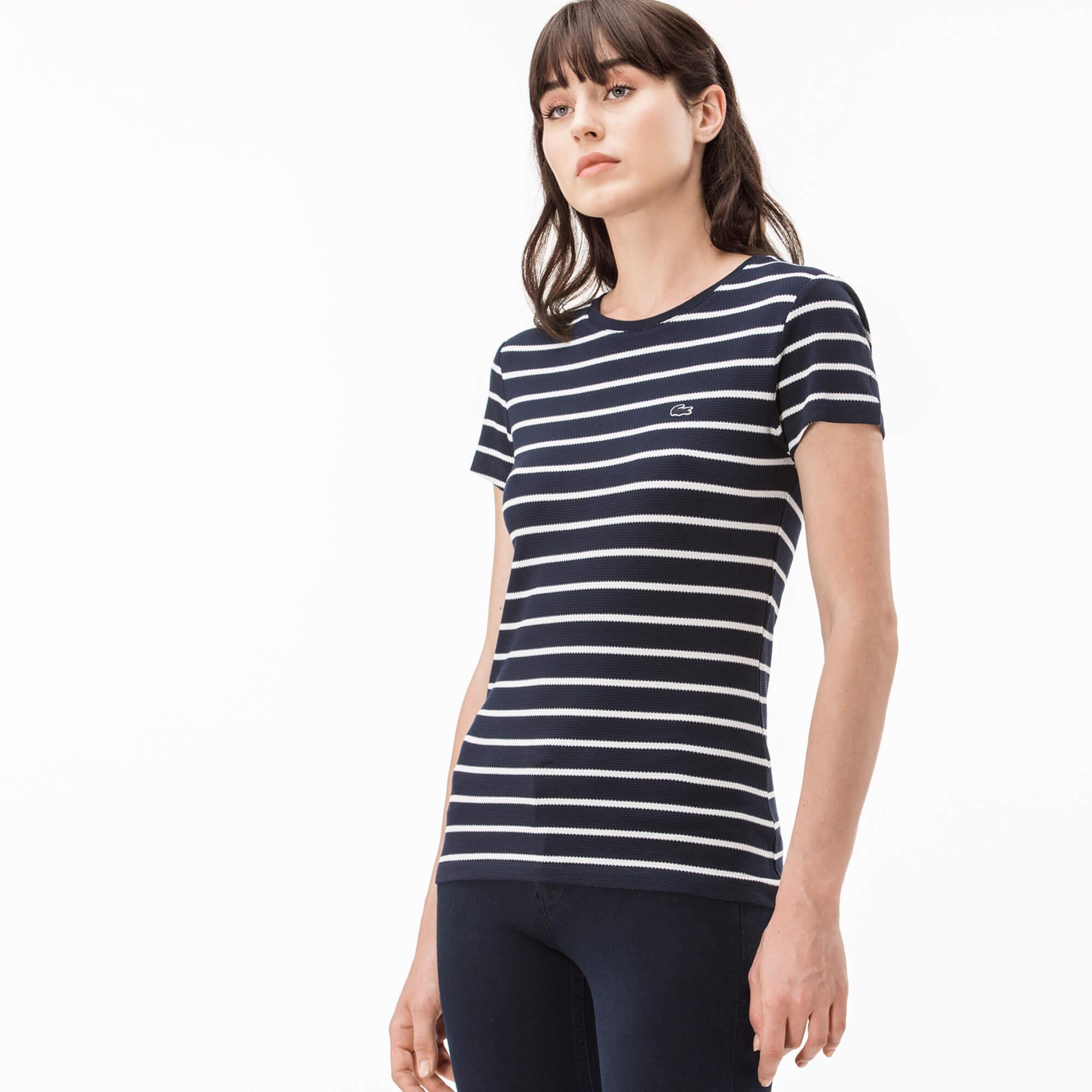 Lacoste Kadın Lacivert Çizgili T-Shirt