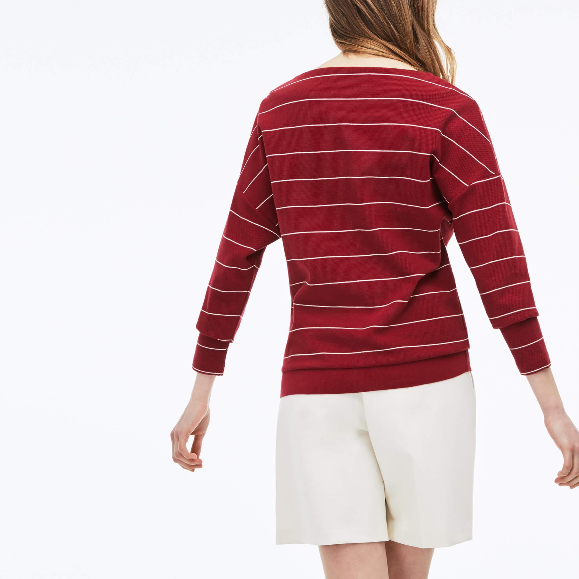 Lacoste Kadın Çizgili Kırmızı Sweatshirt