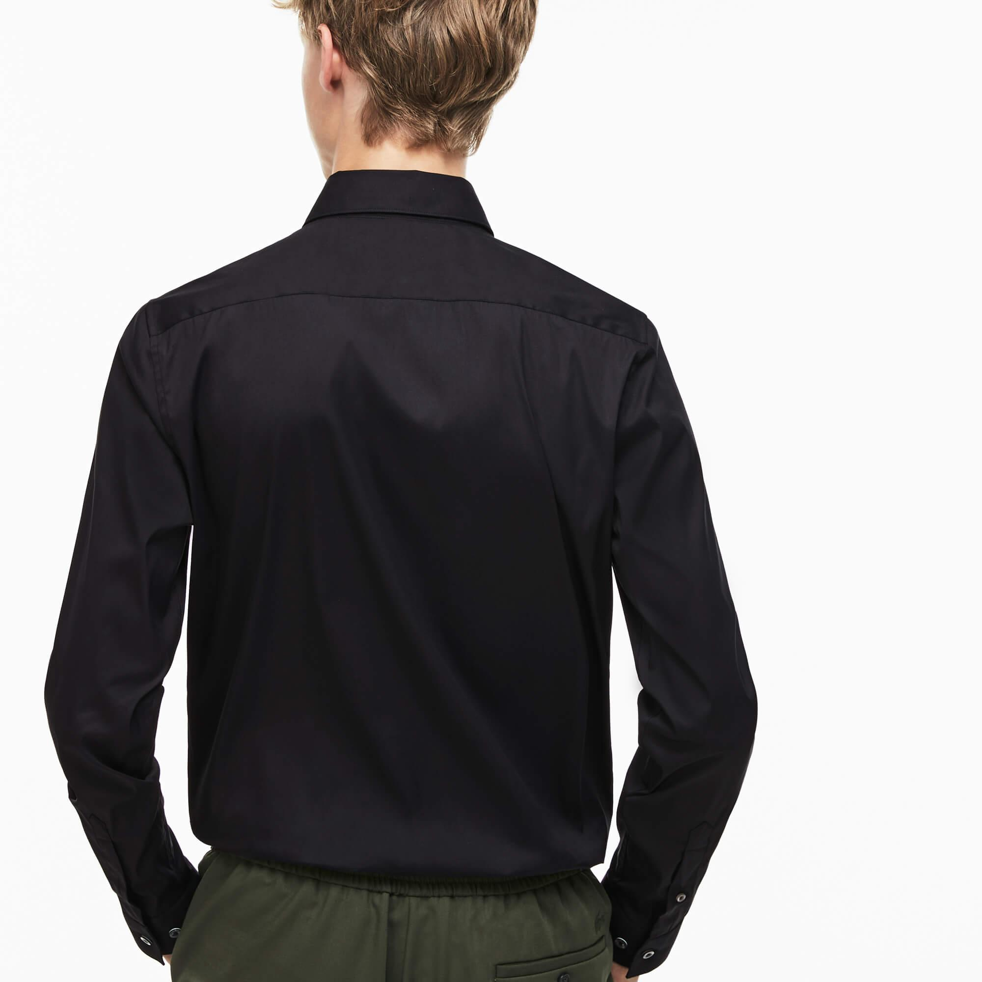 Lacoste Erkek Slim Fit Streç Poplin Pamuklu Siyah Gömlek