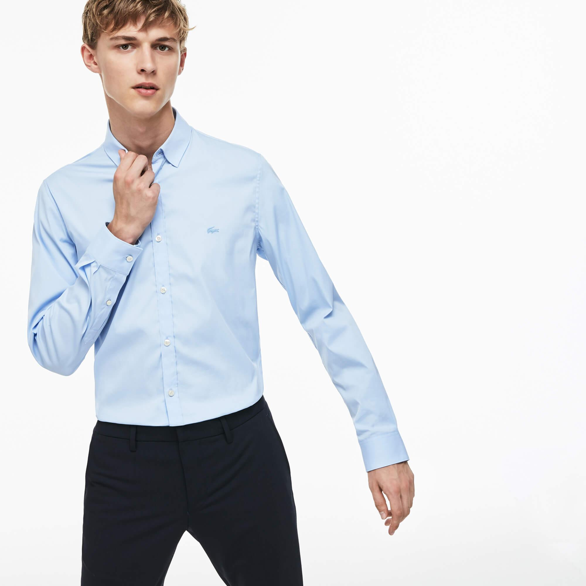 Lacoste Erkek Slim Fit Streç Poplin Pamuklu Mavi Gömlek