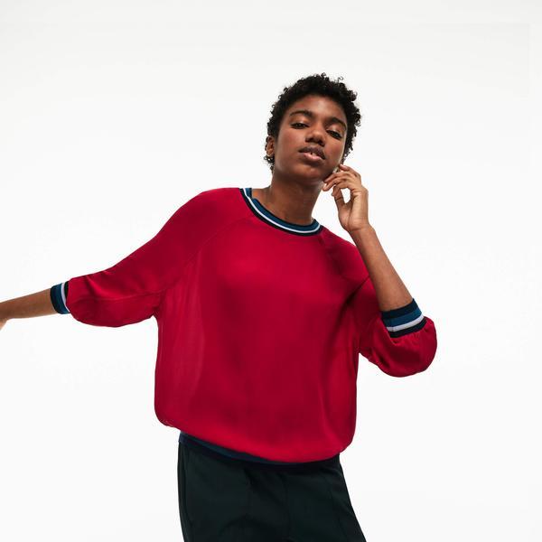 Lacoste Kadın Kırmızı İpek Bluz