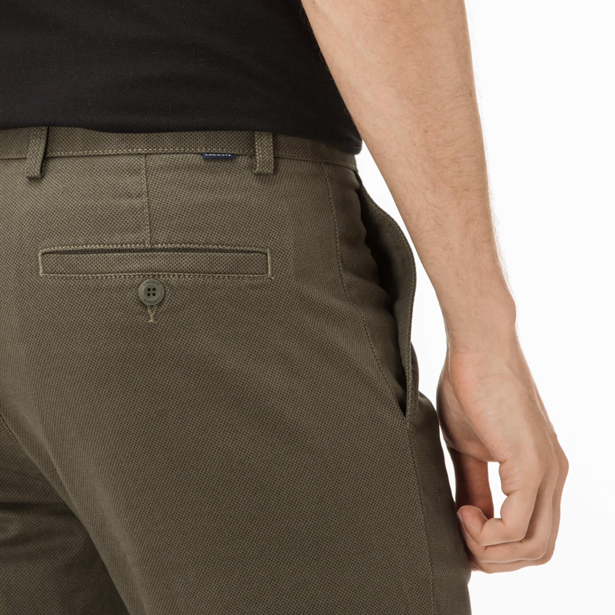 Lacoste Erkek Slim Fit Streç Pamuklu Haki Chino Pantolon