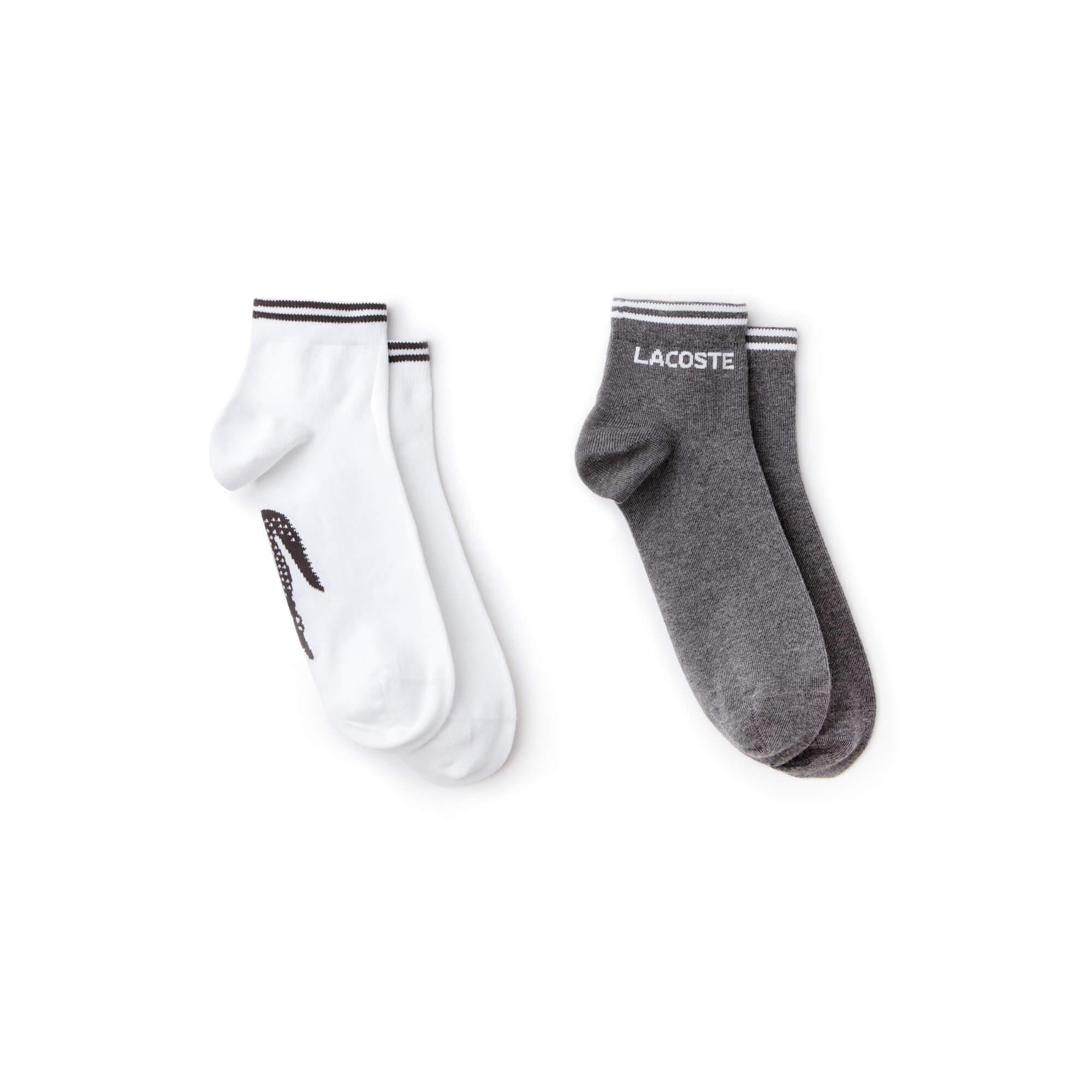 Lacoste Unisex Sport 2'li Gri-Beyaz Çorap