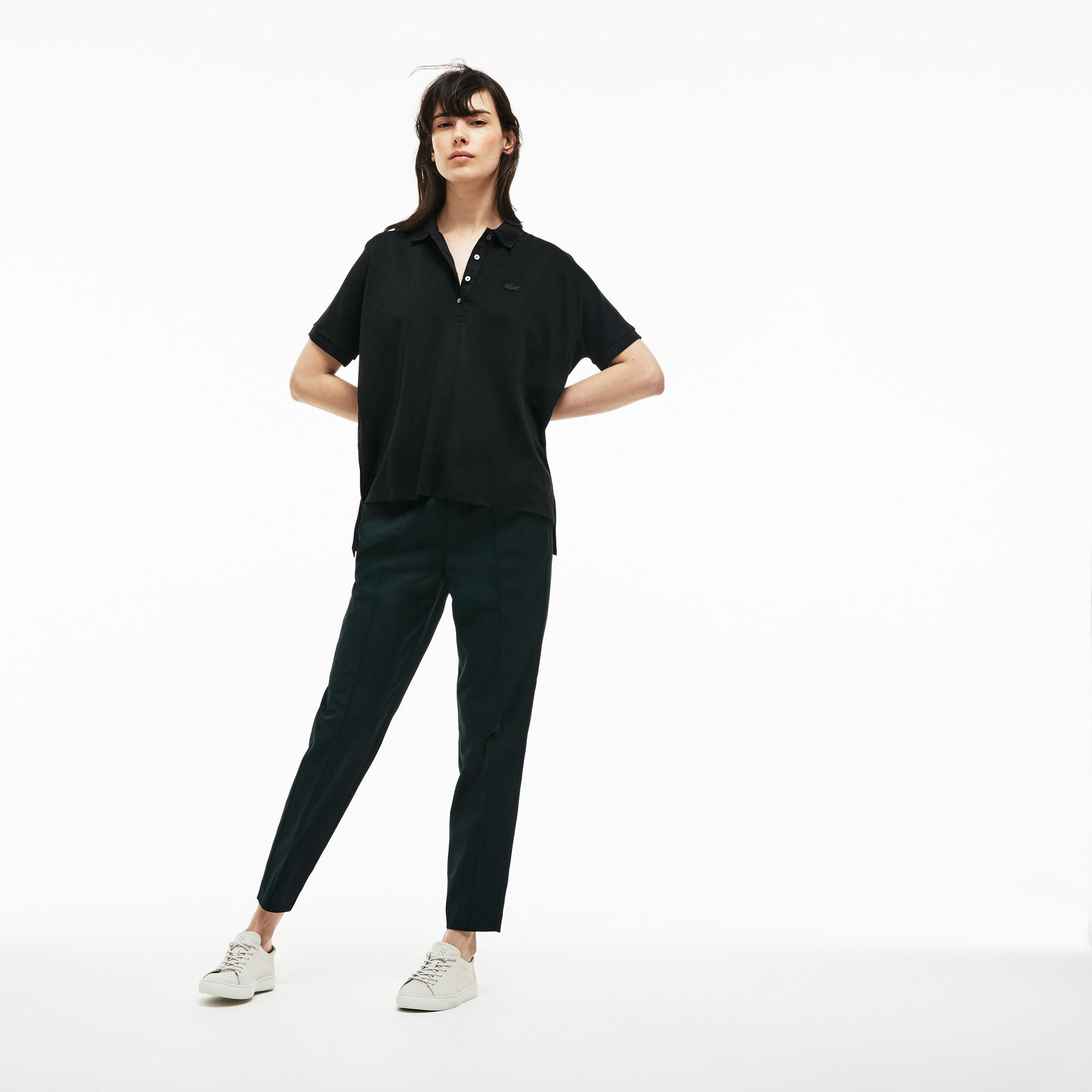 Lacoste Kadın Rahat Kesim Siyah Polo