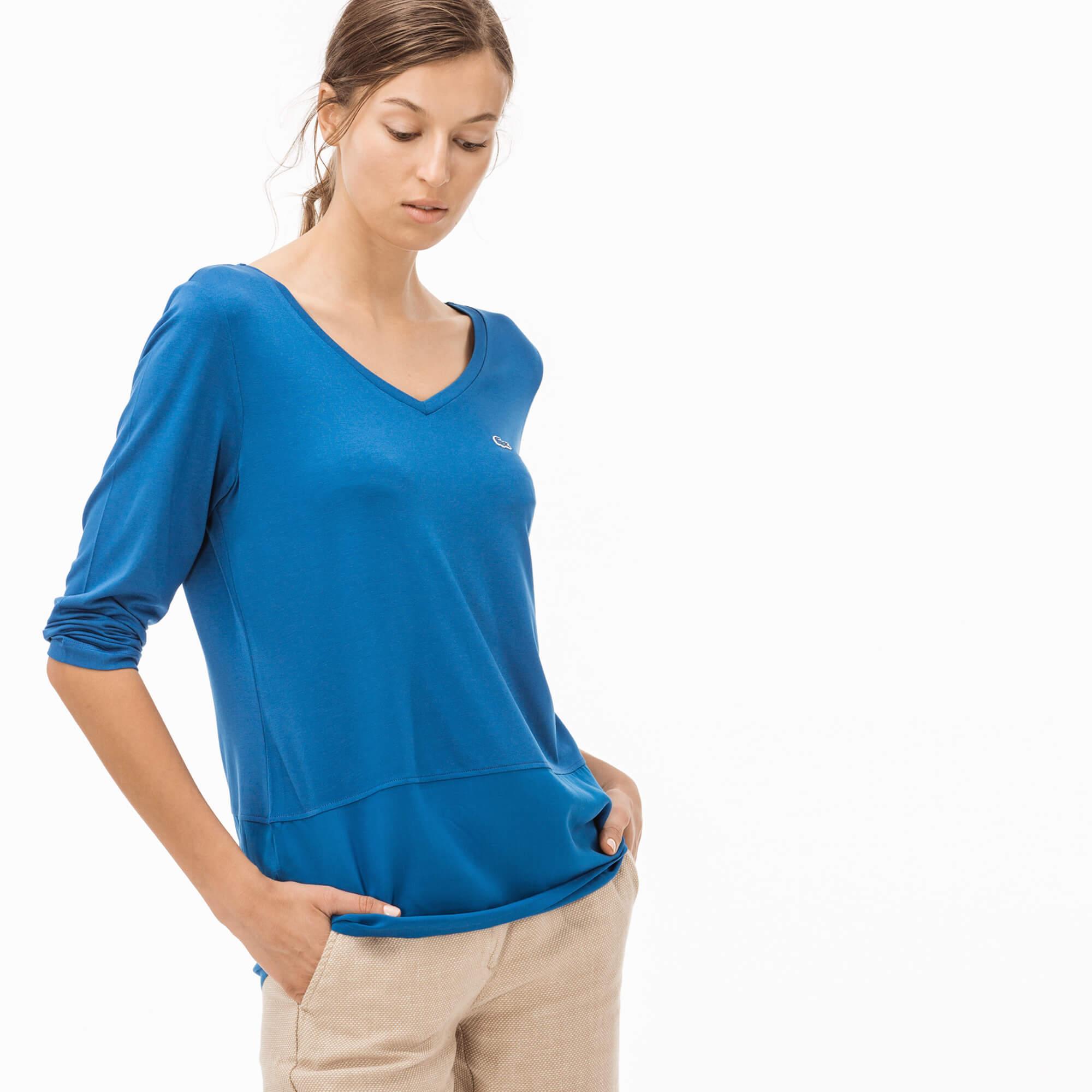 Lacoste Kadın Mavi V Yaka T-Shirt