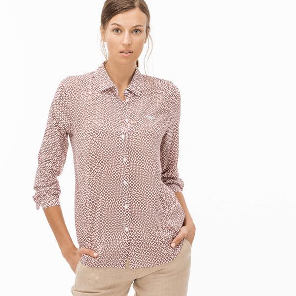 Lacoste Kadın Desenli Bordo Gömlek