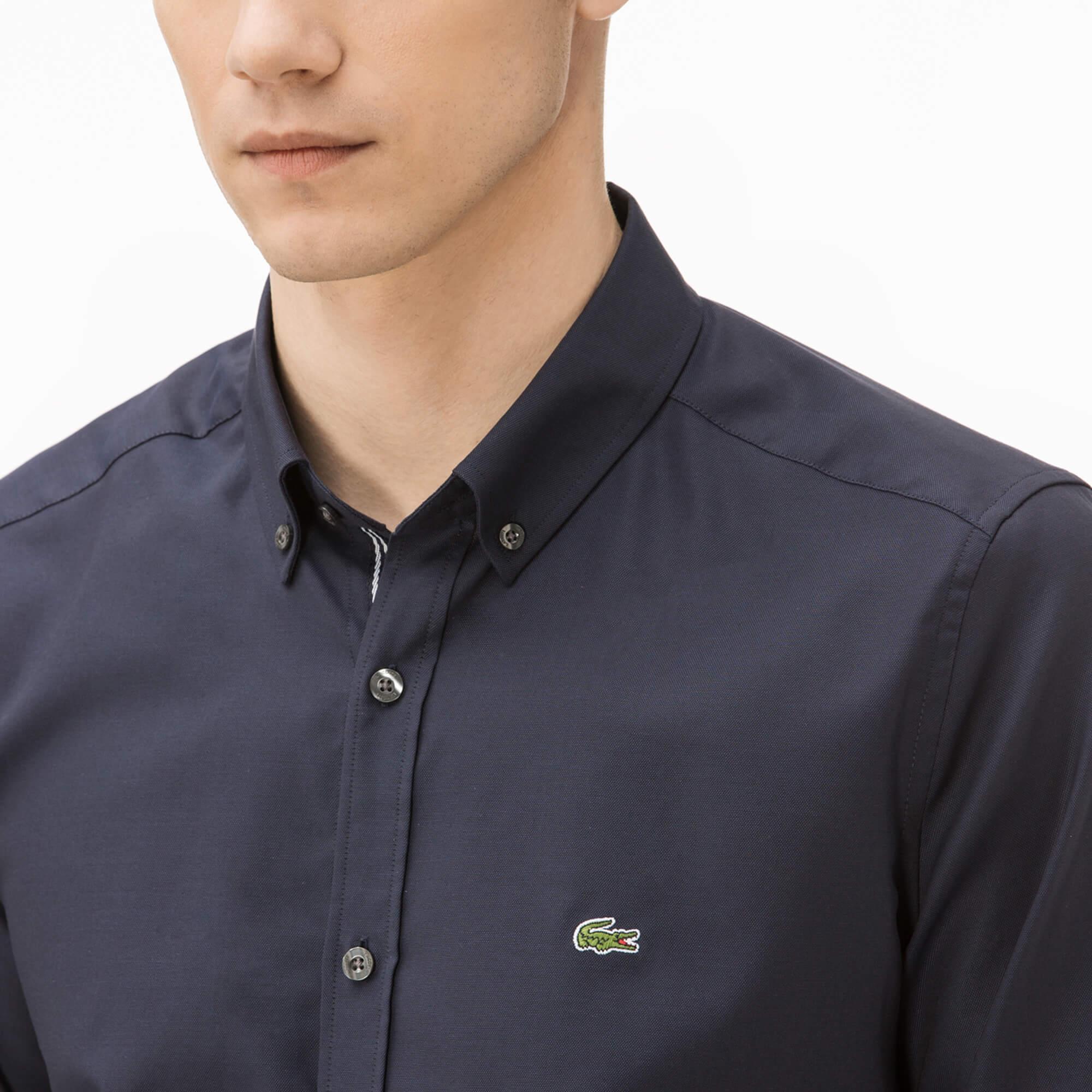 Lacoste Erkek Slim Fit Lacivert Oxford Gömlek