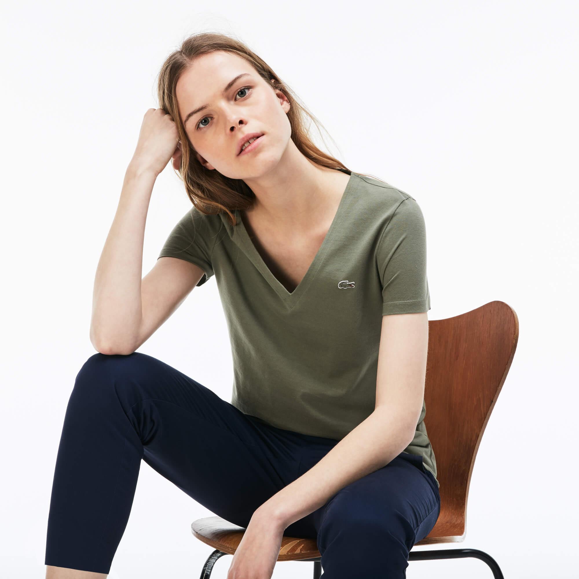 Lacoste Kadın V Yaka Yeşil T-Shirt