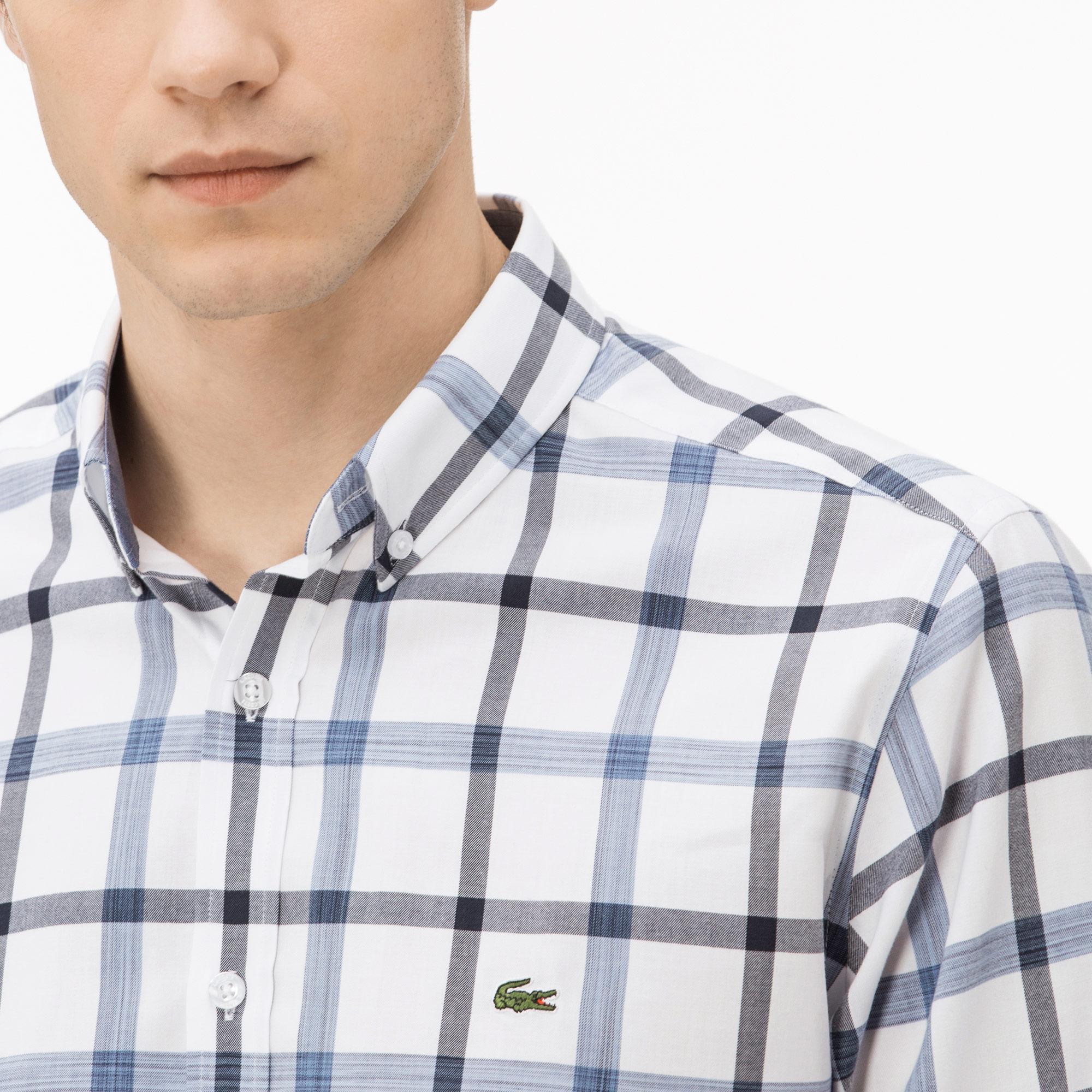 Lacoste Erkek Slim Fit Mavi Ekose Gömlek