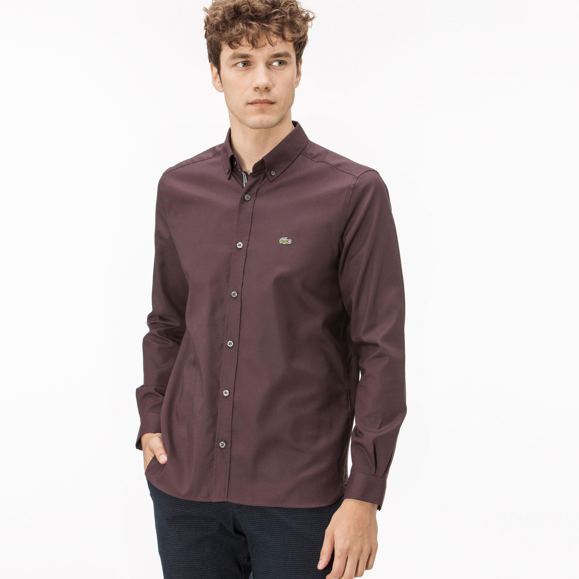 Lacoste Erkek Slim Fit Bordo Oxford Gömlek