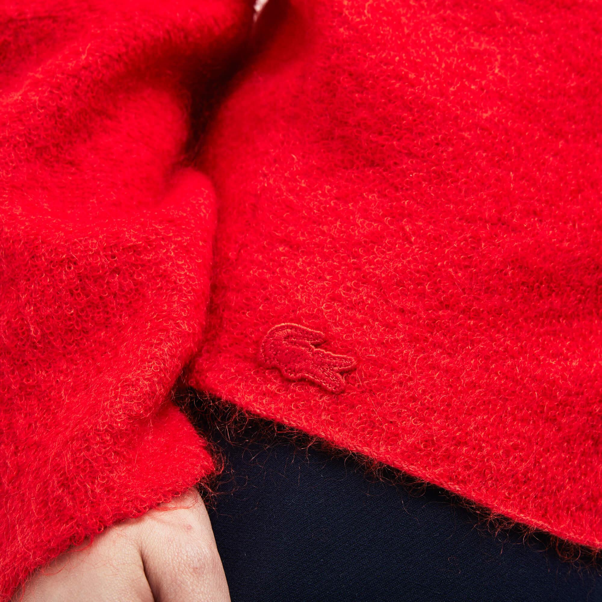 Lacoste Kadın Boğazlı Kırmızı Triko Kazak